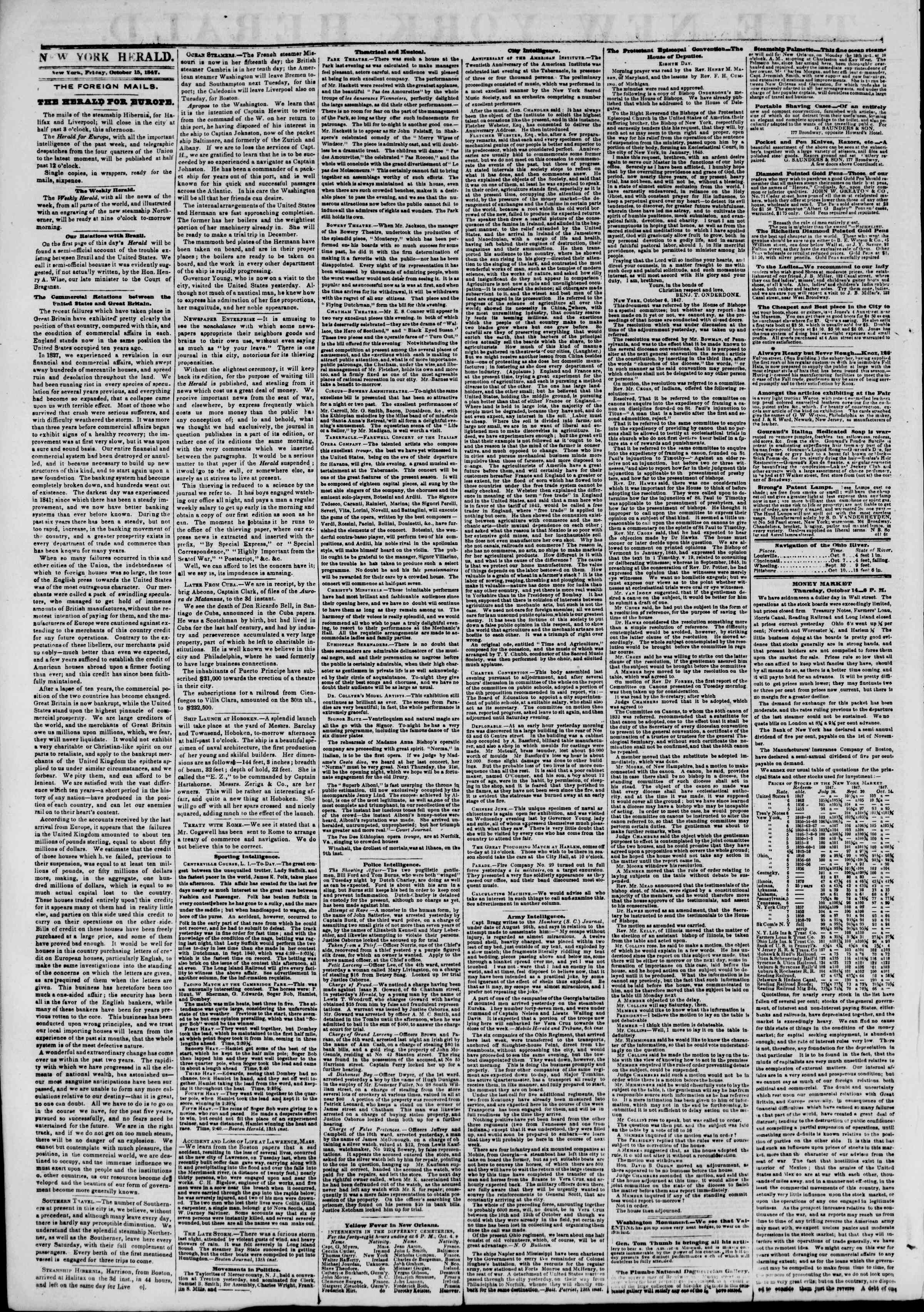 Newspaper of The New York Herald dated October 15, 1847 Page 2