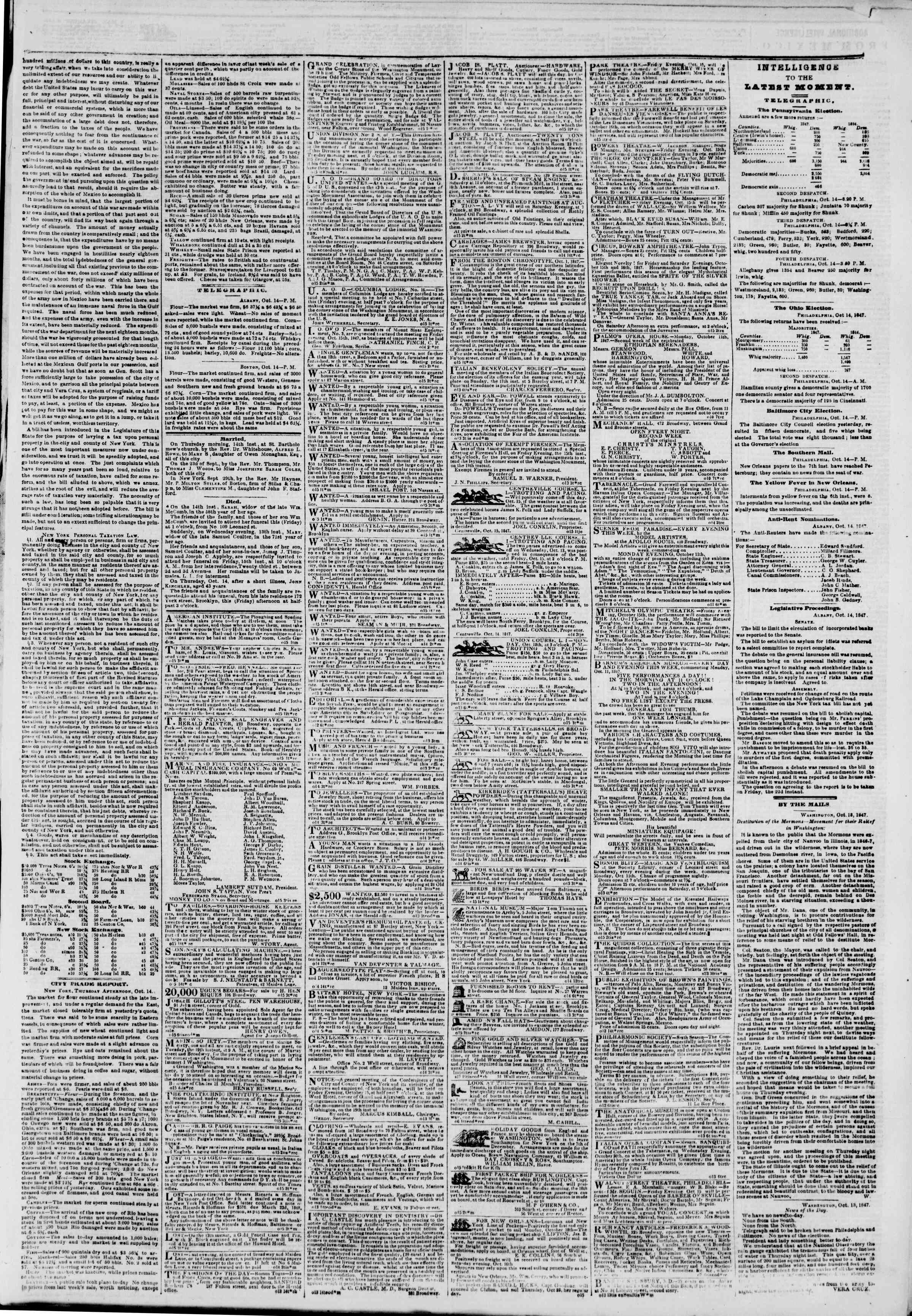 Newspaper of The New York Herald dated October 15, 1847 Page 3