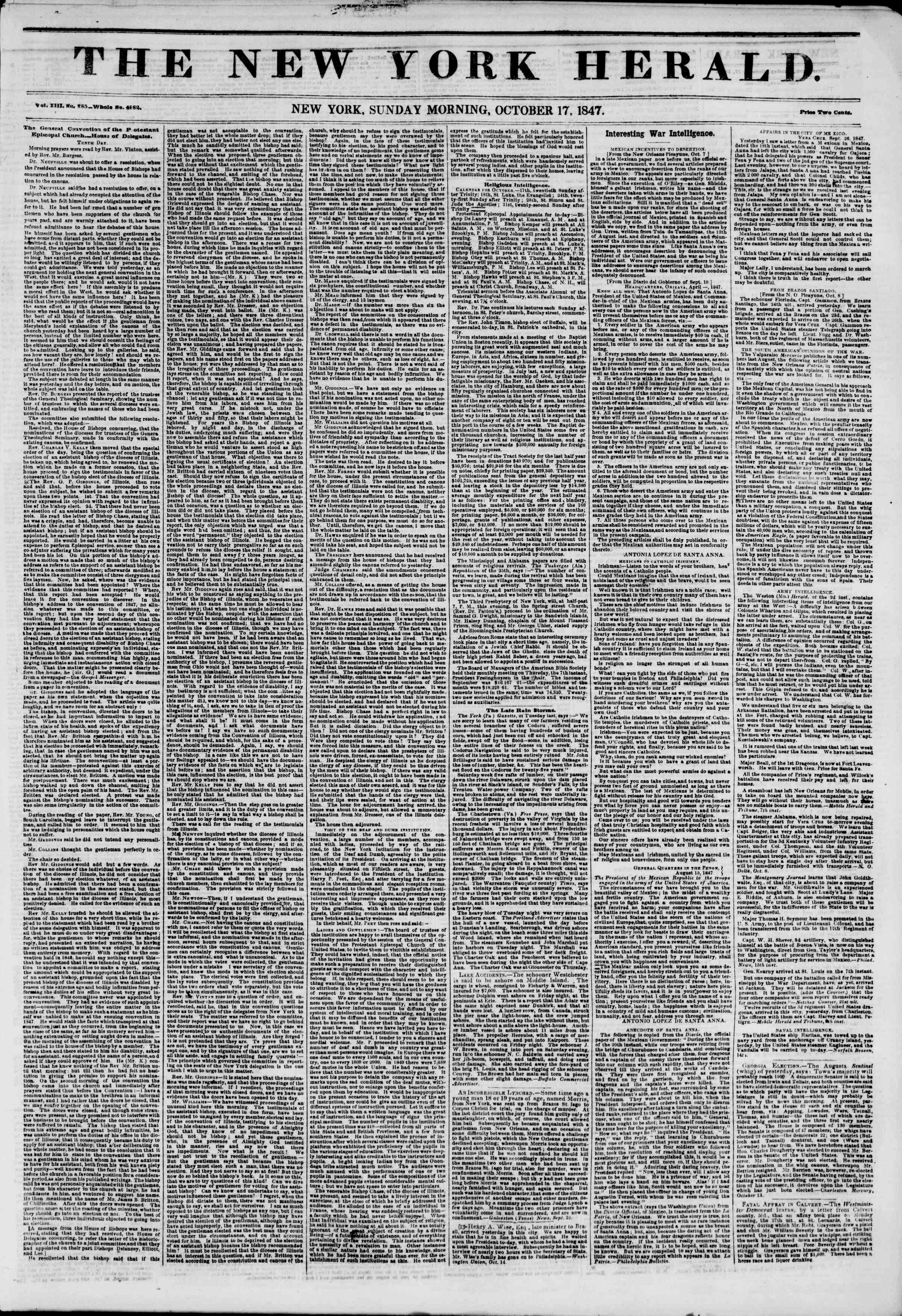 Newspaper of The New York Herald dated October 17, 1847 Page 1