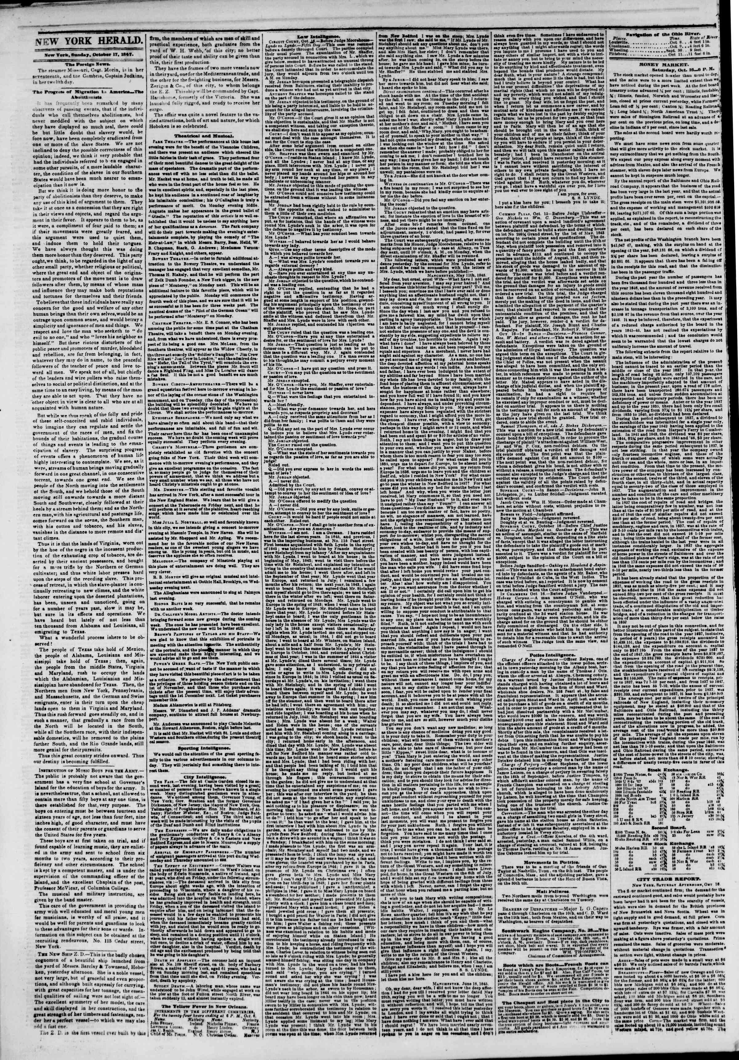 Newspaper of The New York Herald dated October 17, 1847 Page 2