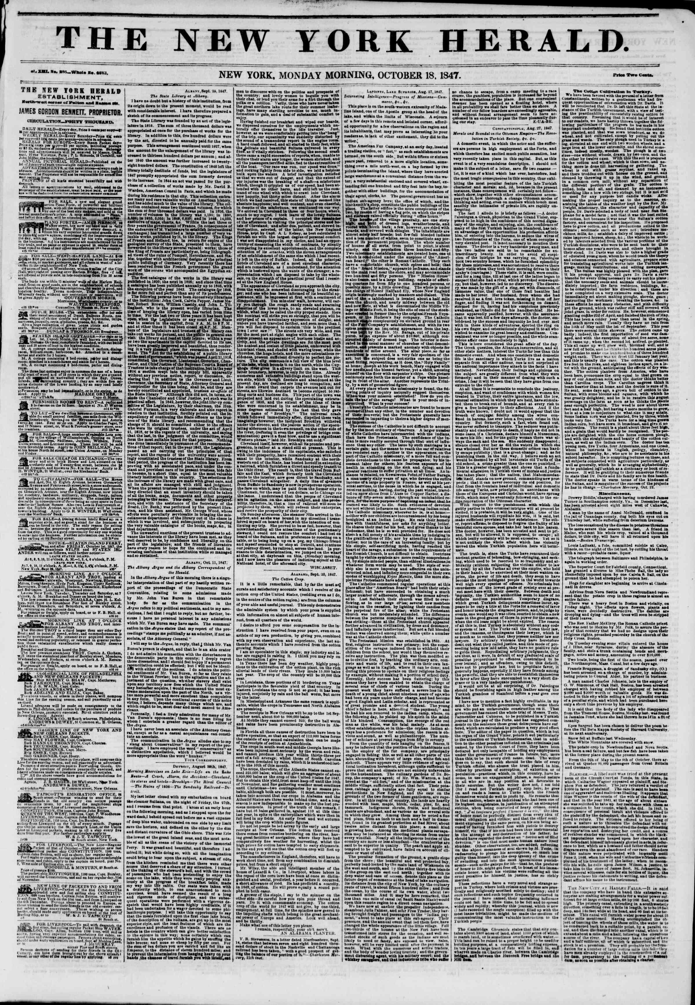 18 Ekim 1847 tarihli The New York Herald Gazetesi Sayfa 1