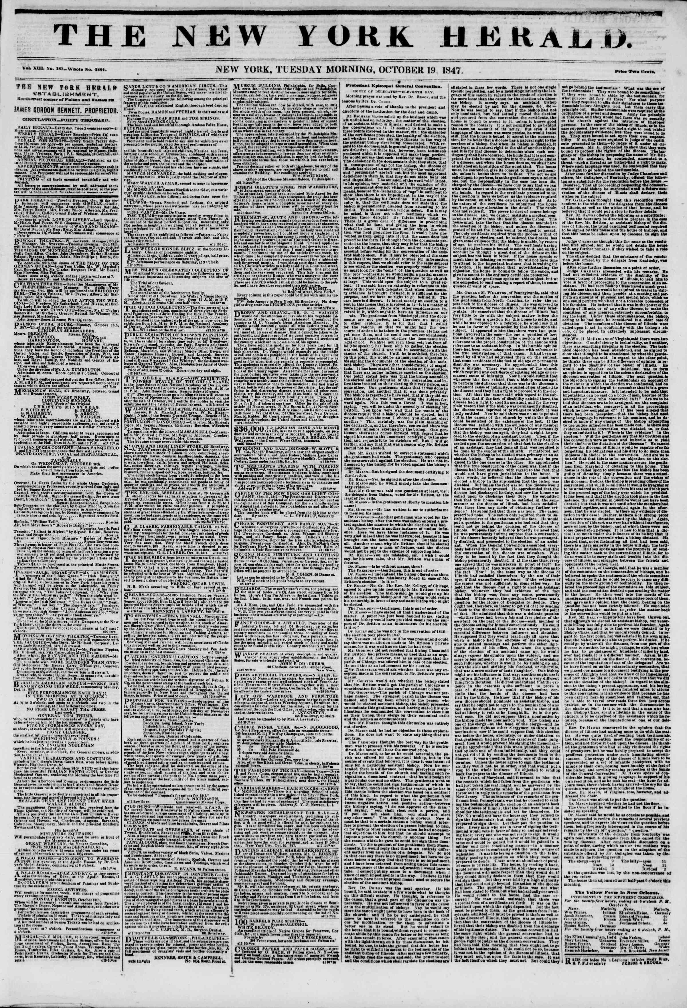 Newspaper of The New York Herald dated October 19, 1847 Page 1