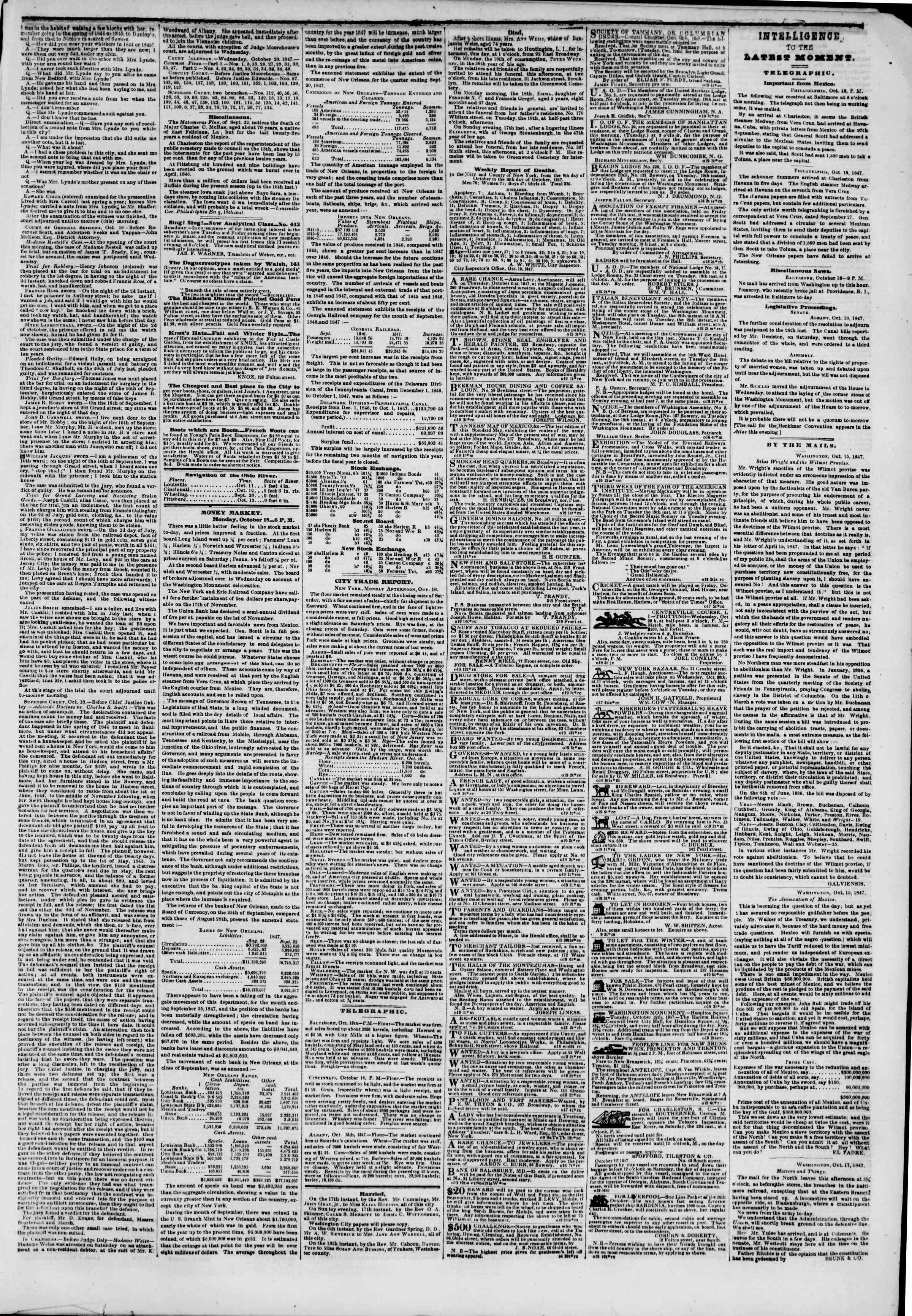 Newspaper of The New York Herald dated October 19, 1847 Page 3