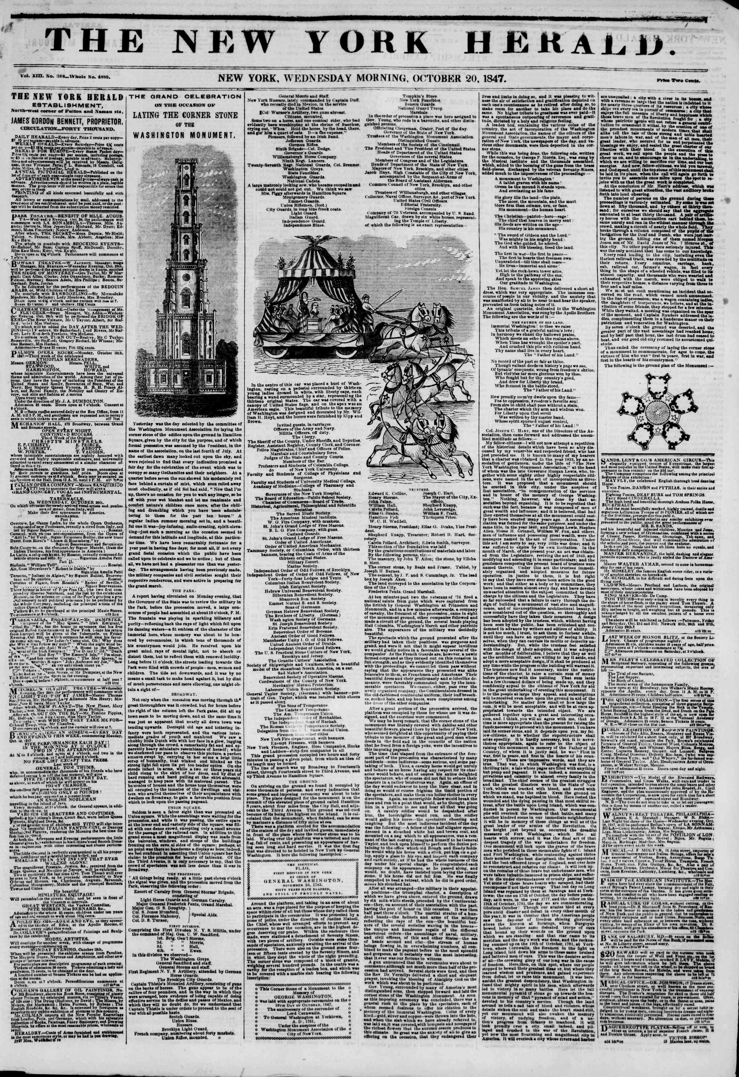 Newspaper of The New York Herald dated October 20, 1847 Page 1