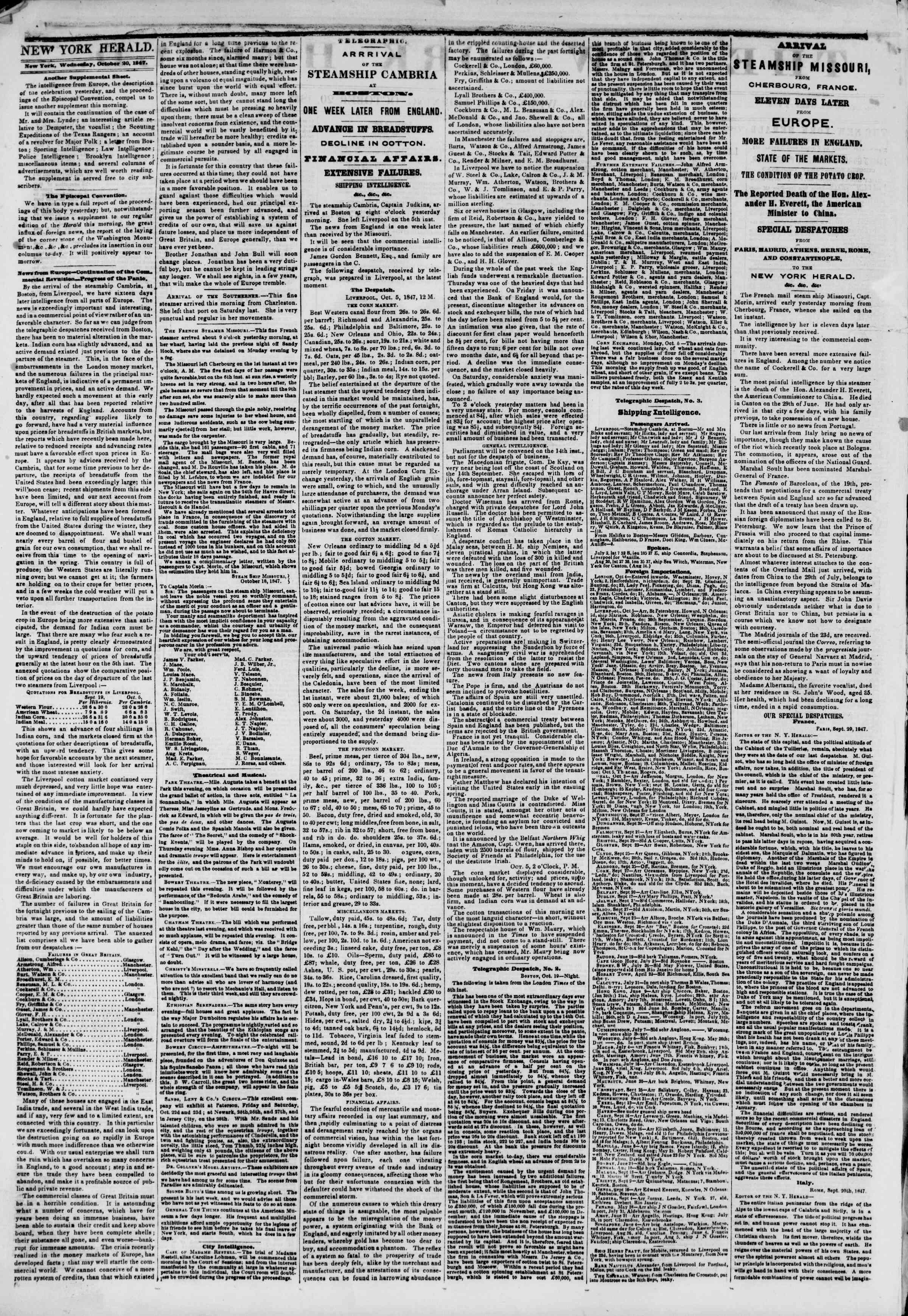 Newspaper of The New York Herald dated October 20, 1847 Page 2