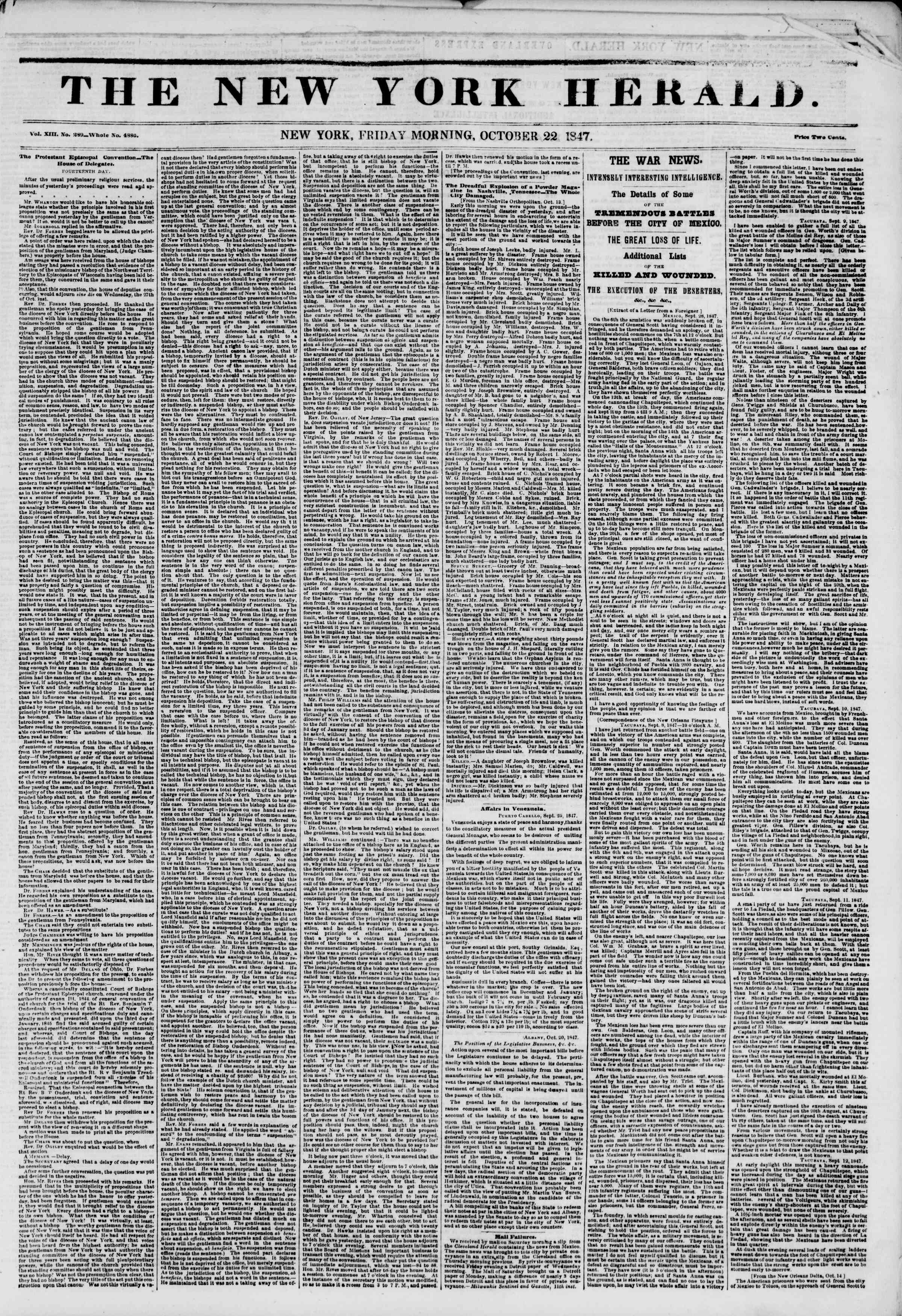 Newspaper of The New York Herald dated October 22, 1847 Page 1