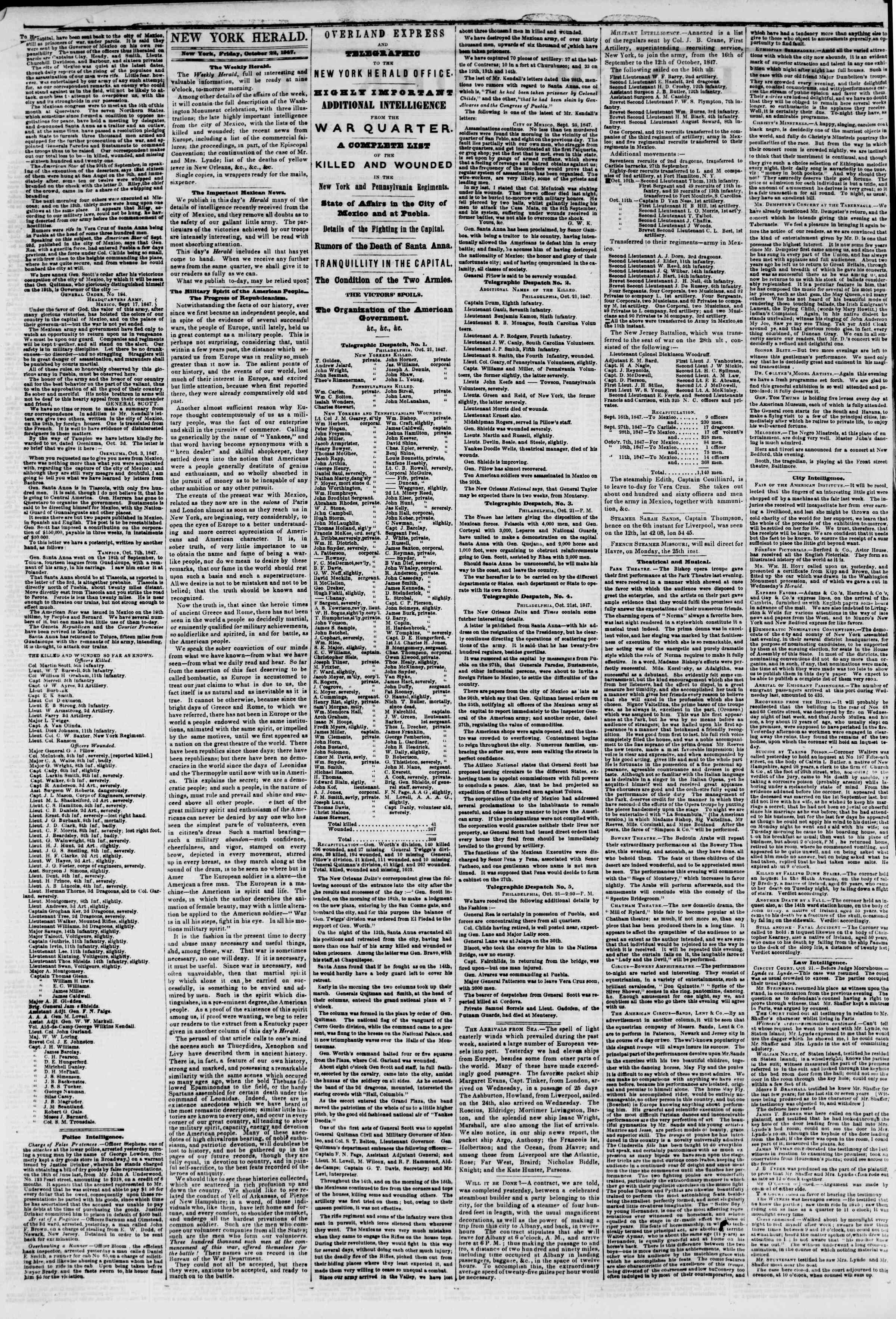 Newspaper of The New York Herald dated October 22, 1847 Page 2