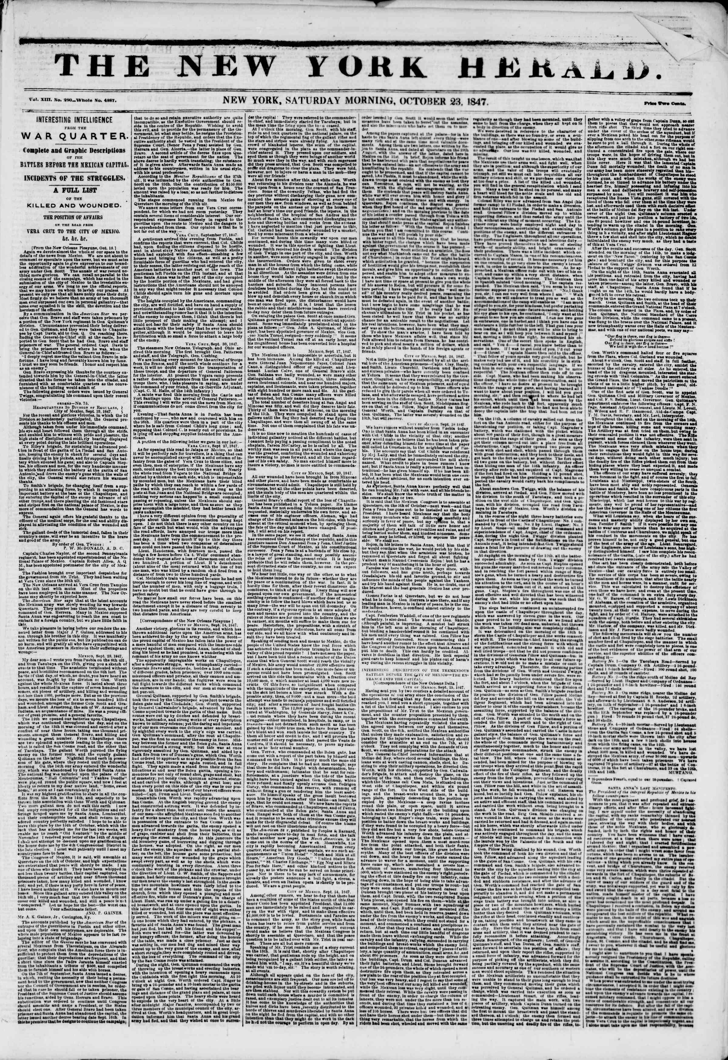 Newspaper of The New York Herald dated October 23, 1847 Page 1