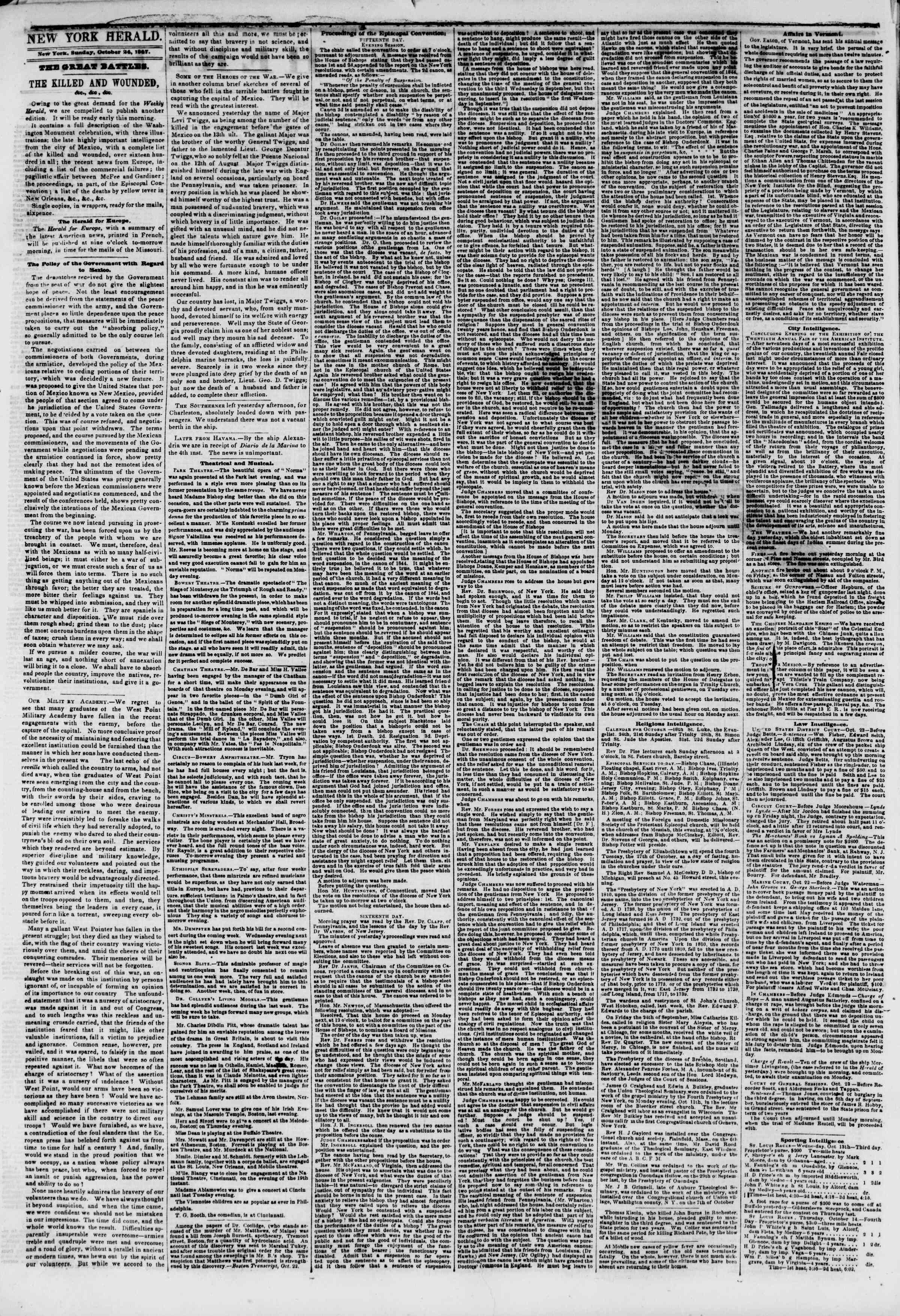 Newspaper of The New York Herald dated October 24, 1847 Page 2