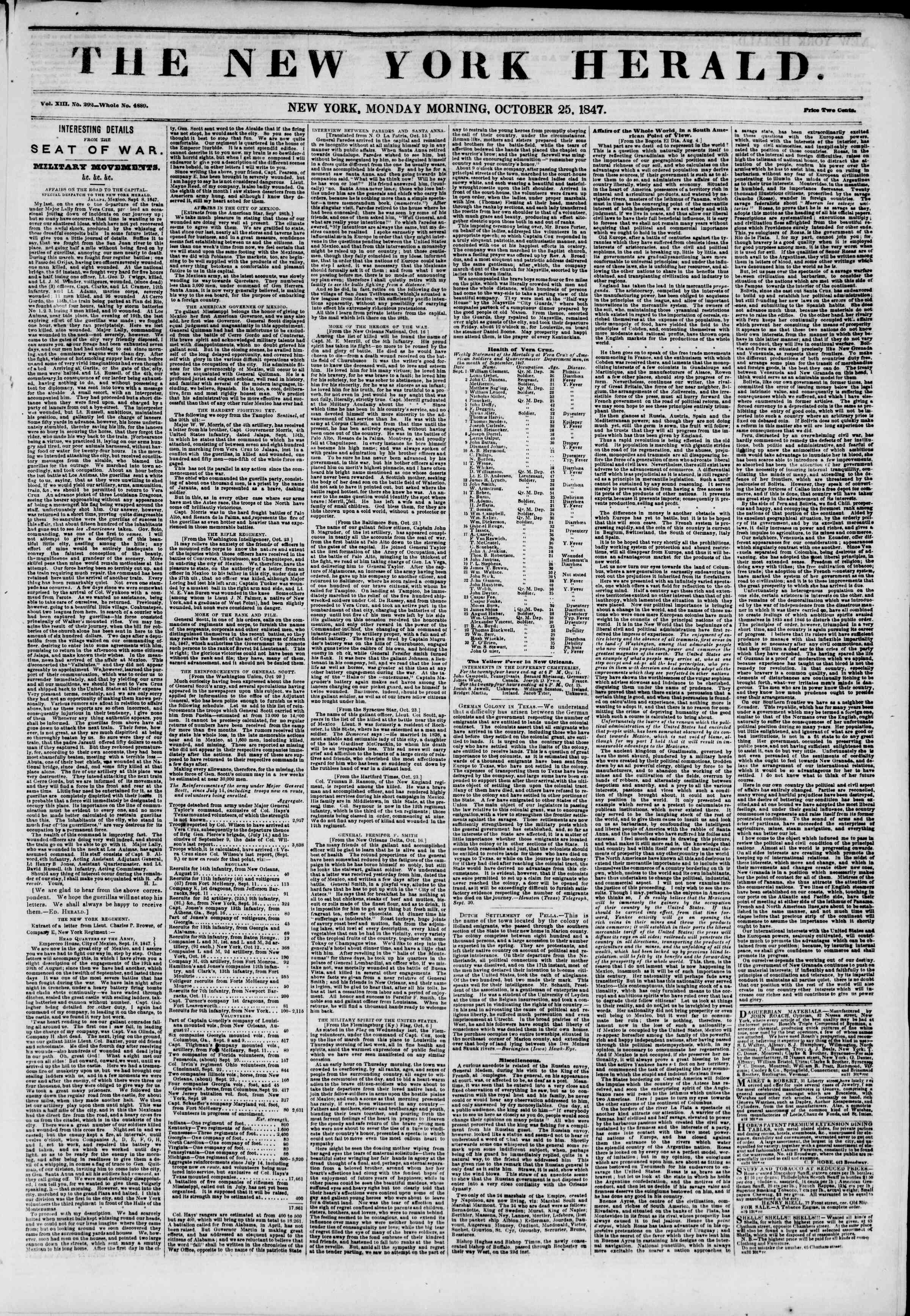 Newspaper of The New York Herald dated October 25, 1847 Page 1