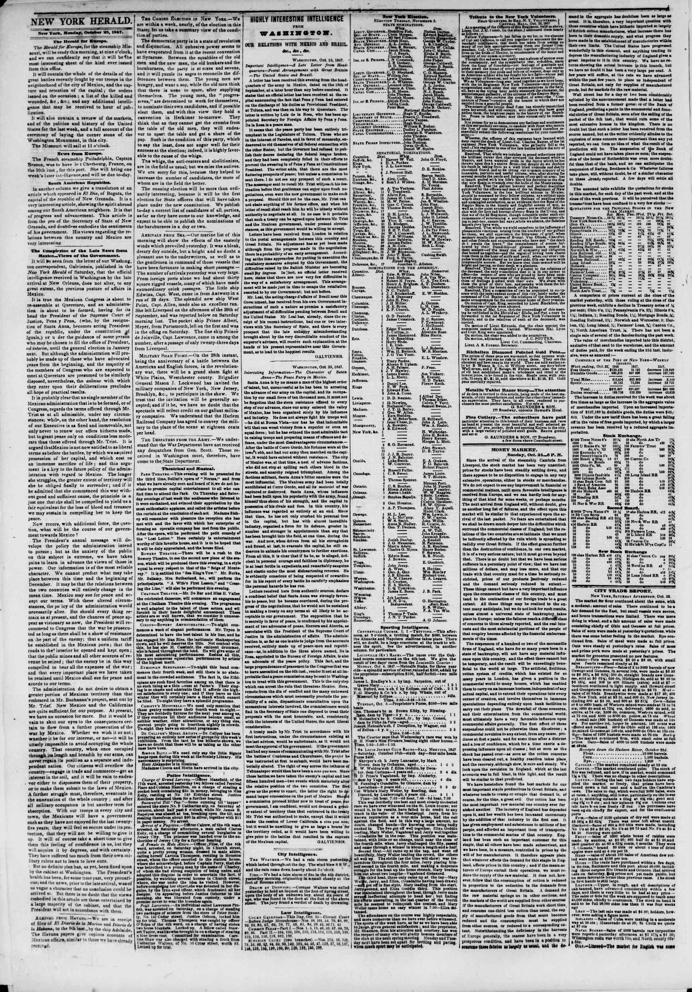Newspaper of The New York Herald dated October 25, 1847 Page 2