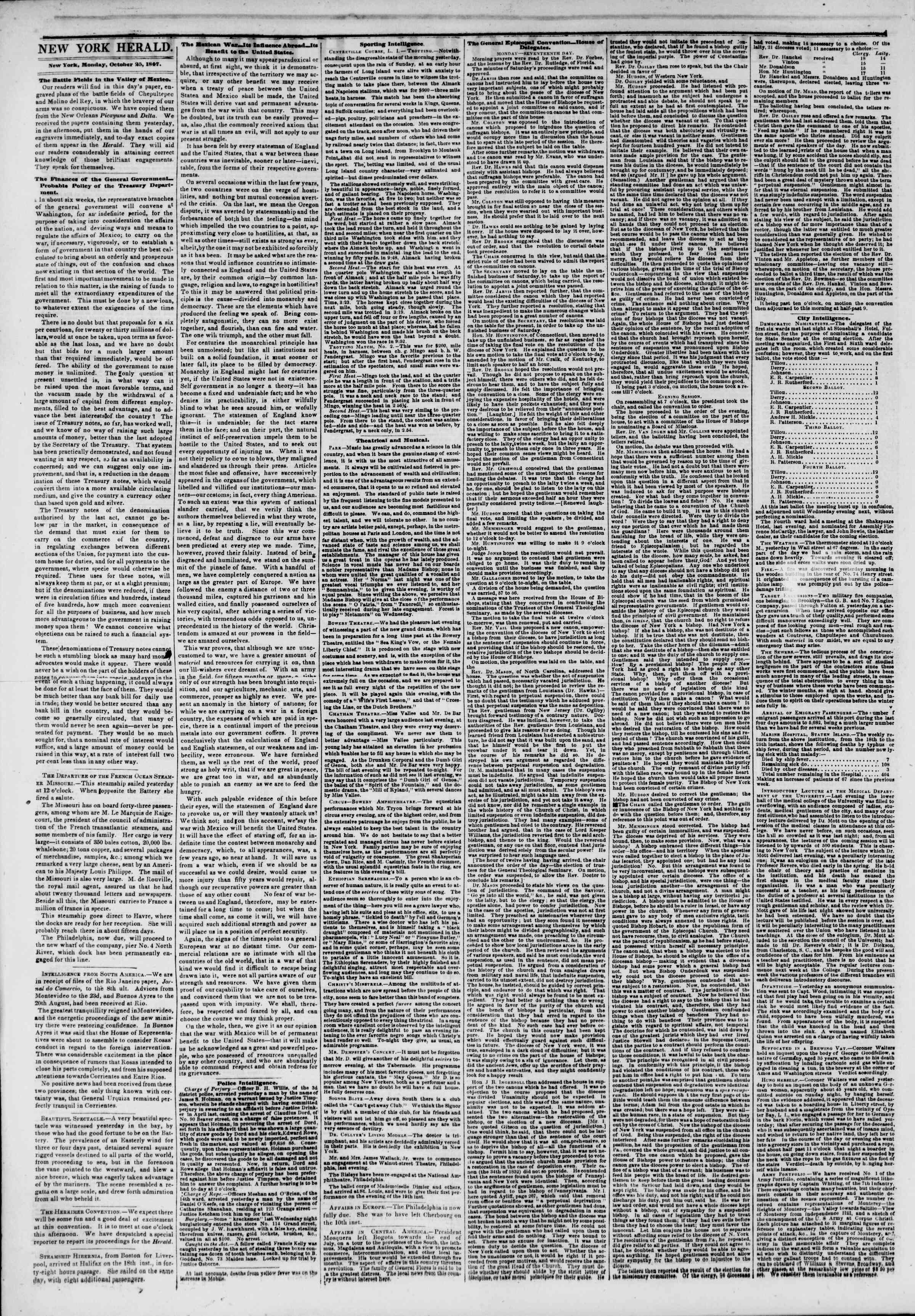 Newspaper of The New York Herald dated October 26, 1847 Page 2