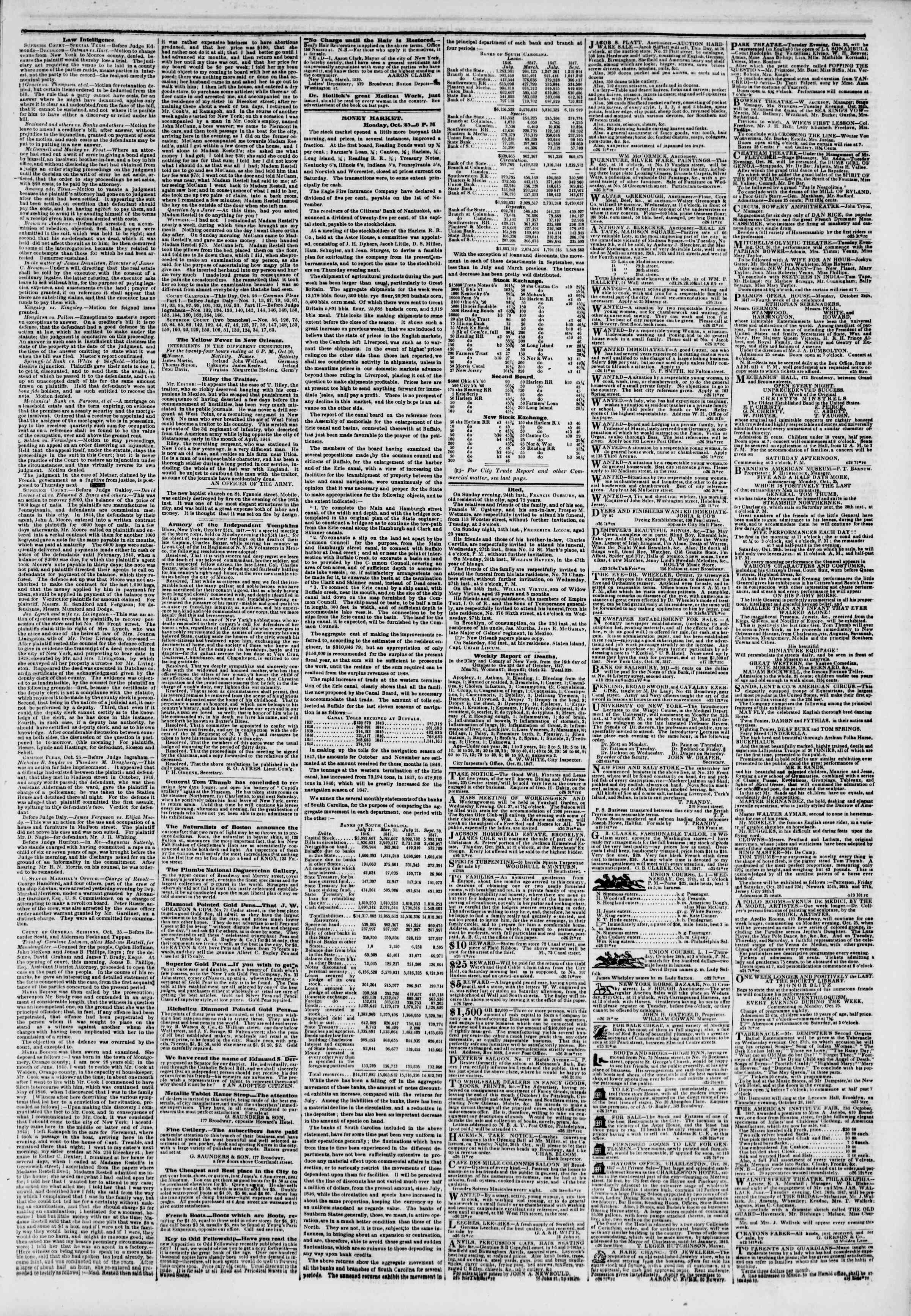Newspaper of The New York Herald dated October 26, 1847 Page 3