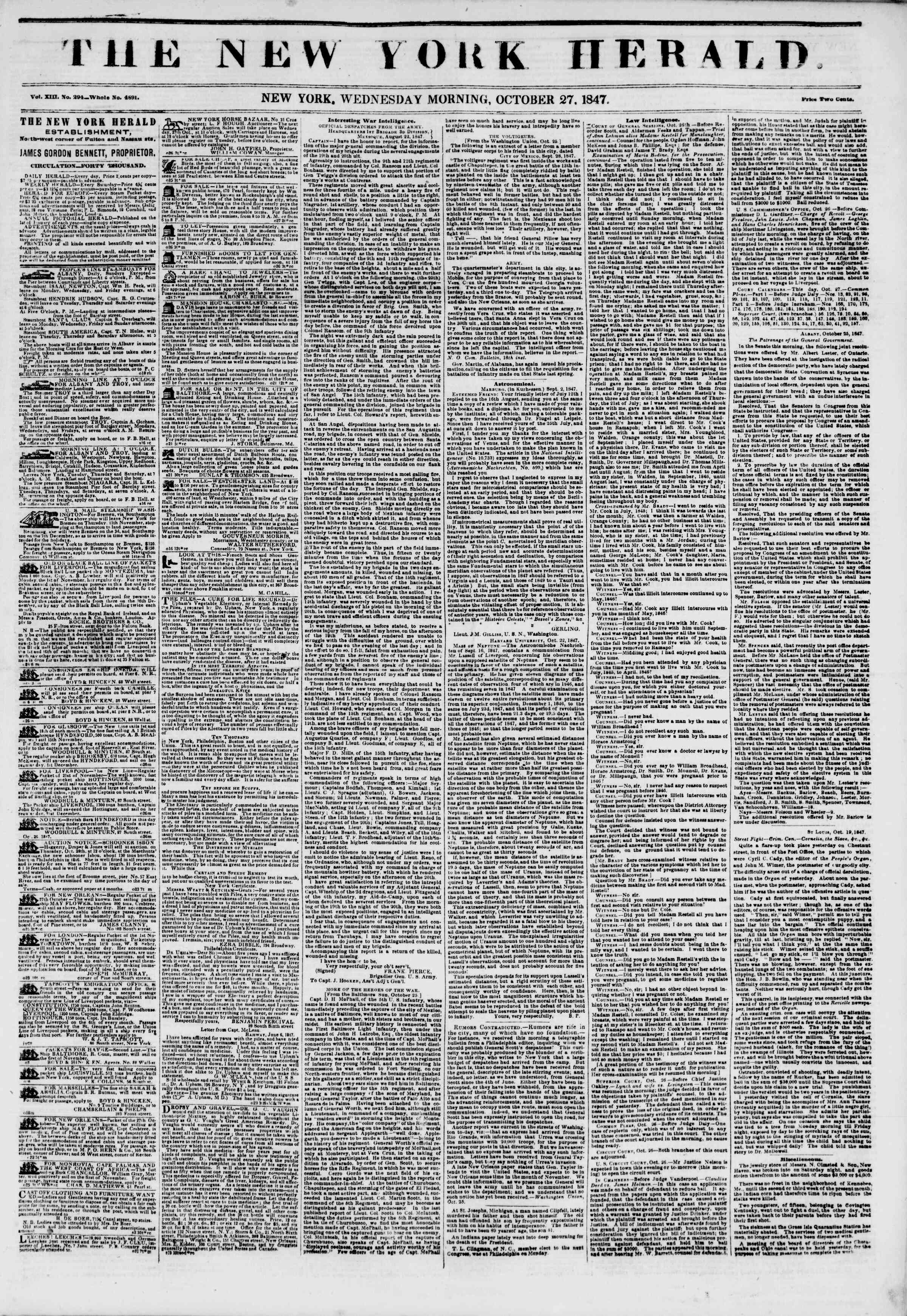 Newspaper of The New York Herald dated October 27, 1847 Page 1