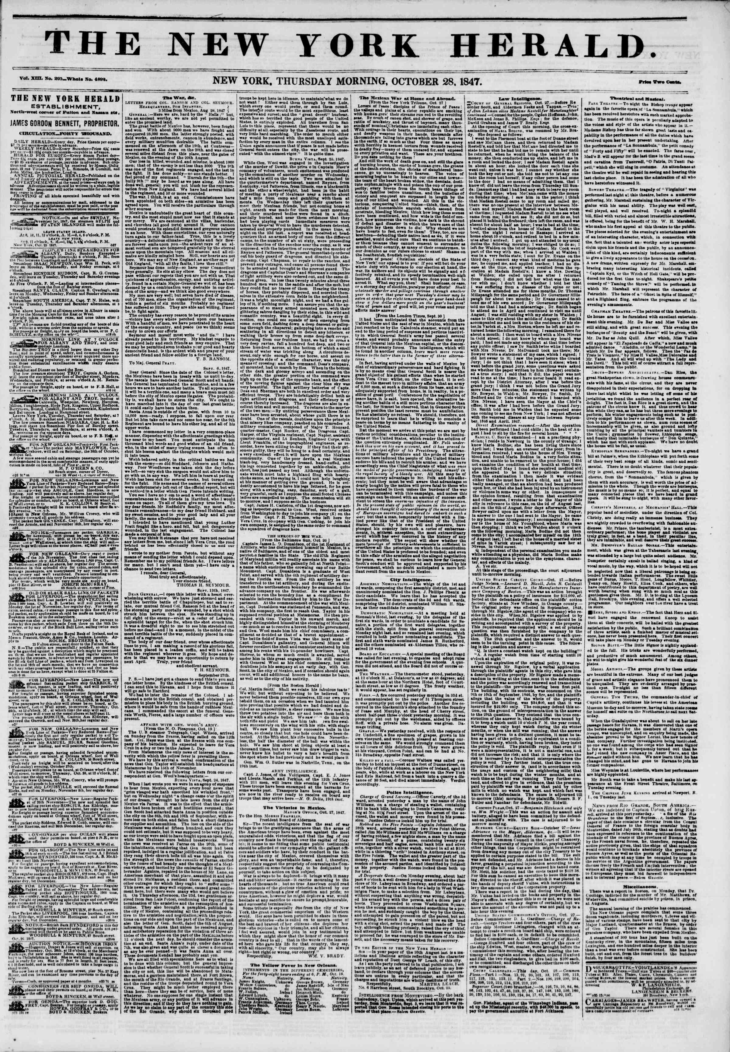 Newspaper of The New York Herald dated October 28, 1847 Page 1