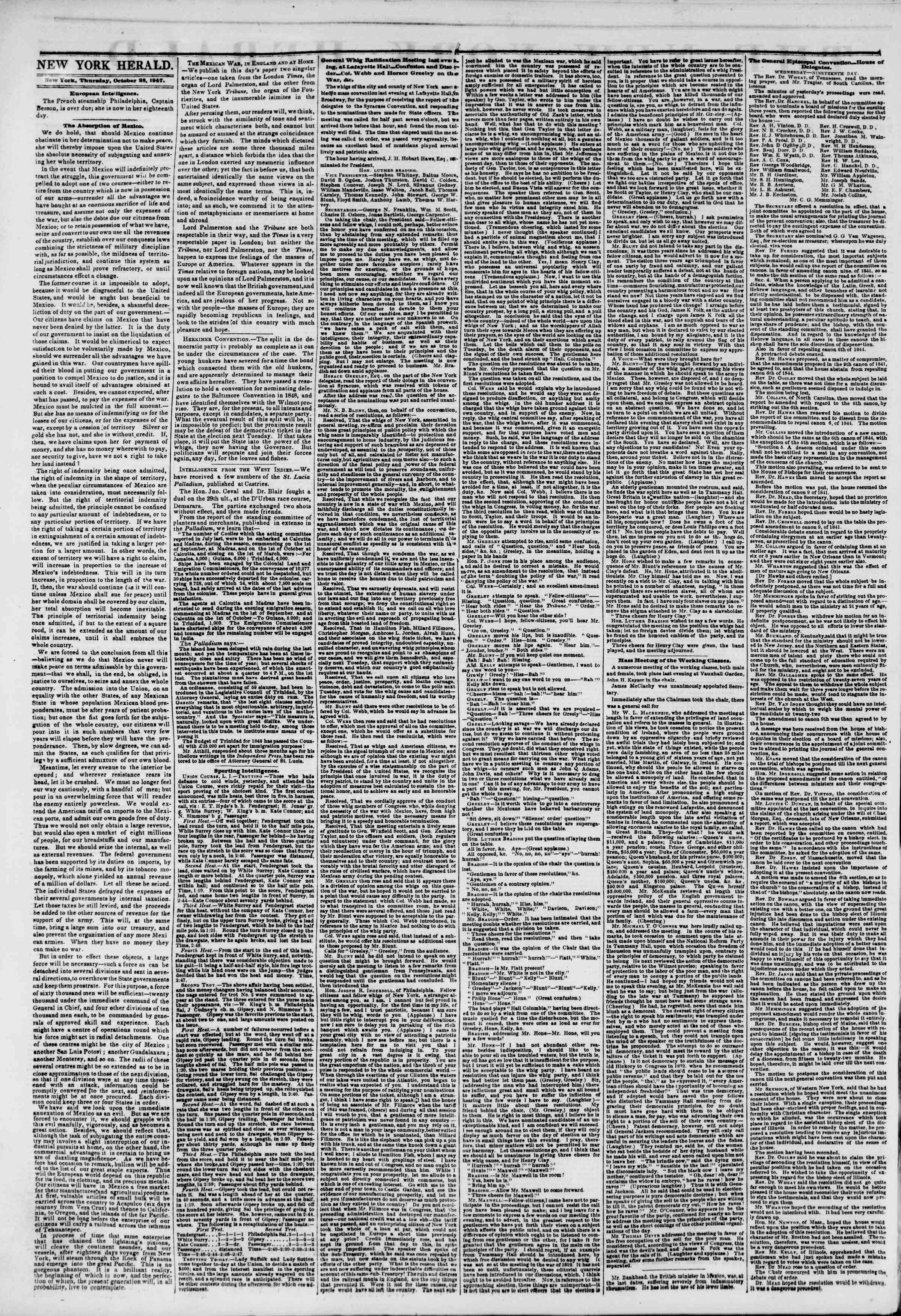 Newspaper of The New York Herald dated October 28, 1847 Page 2