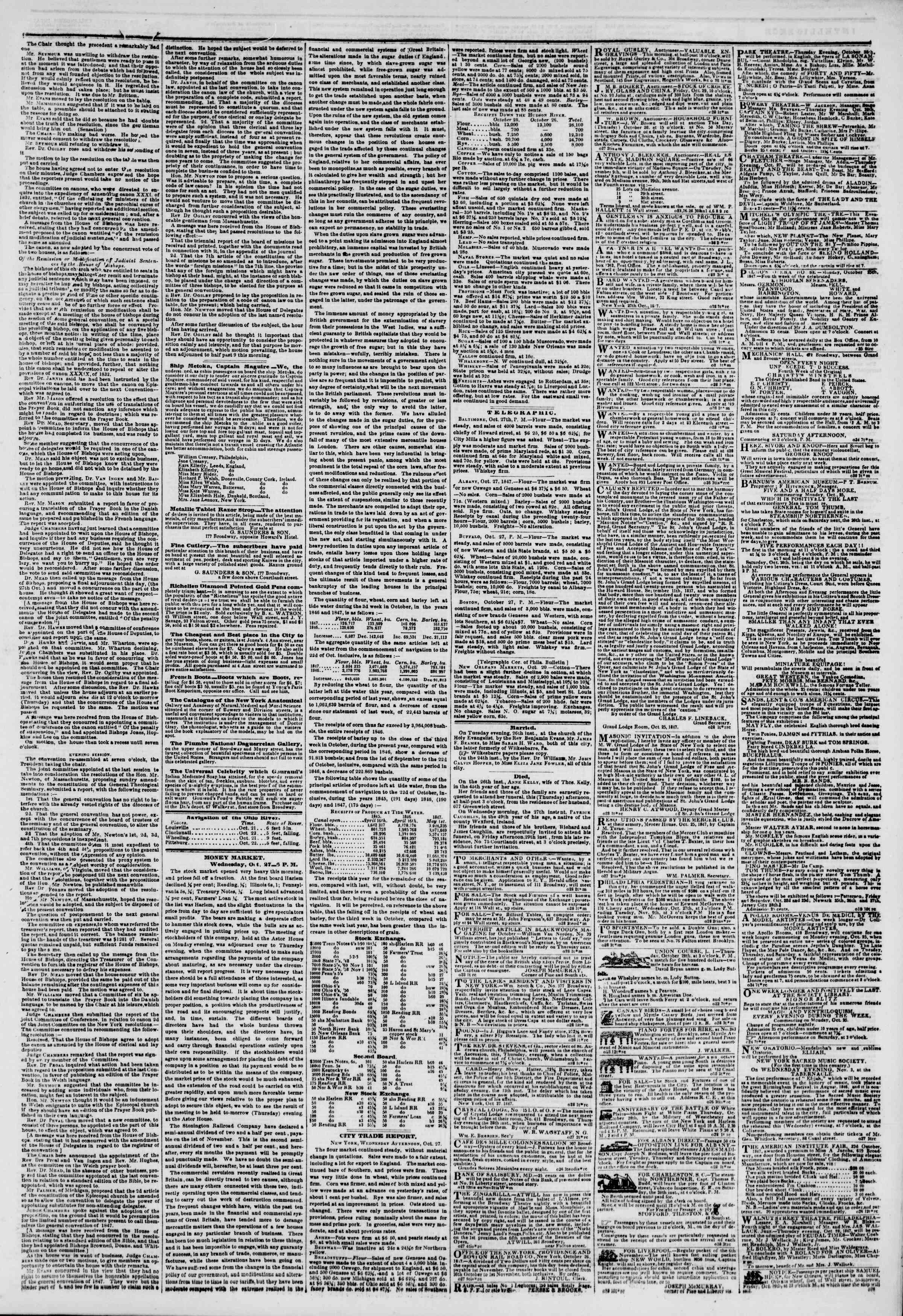 Newspaper of The New York Herald dated October 28, 1847 Page 3