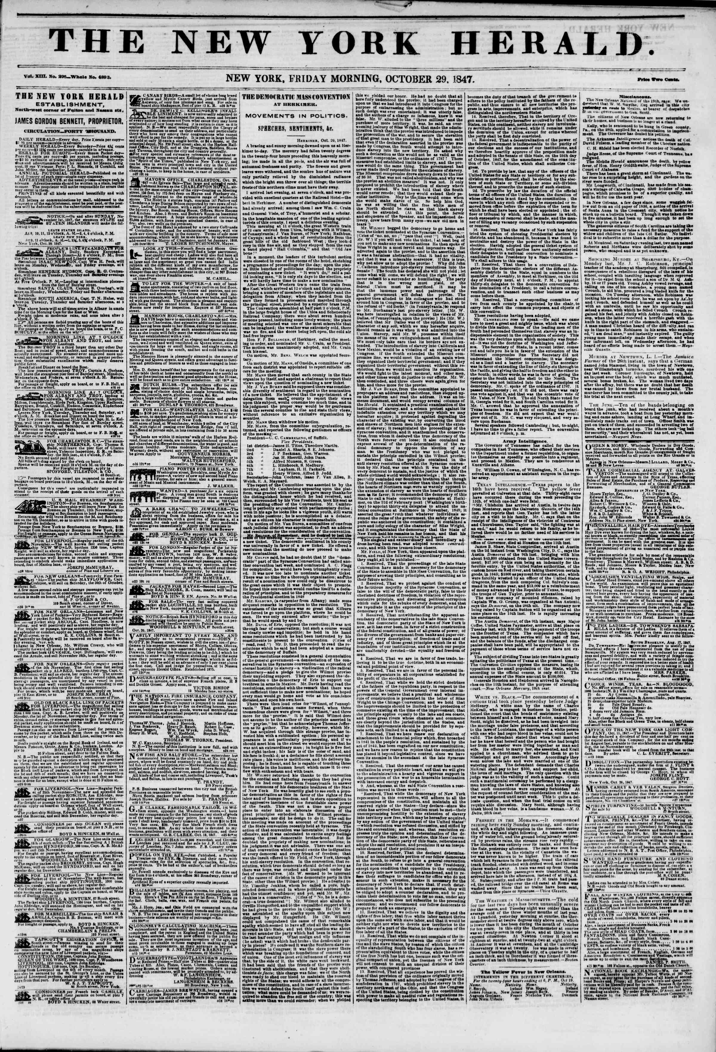 Newspaper of The New York Herald dated October 29, 1847 Page 1