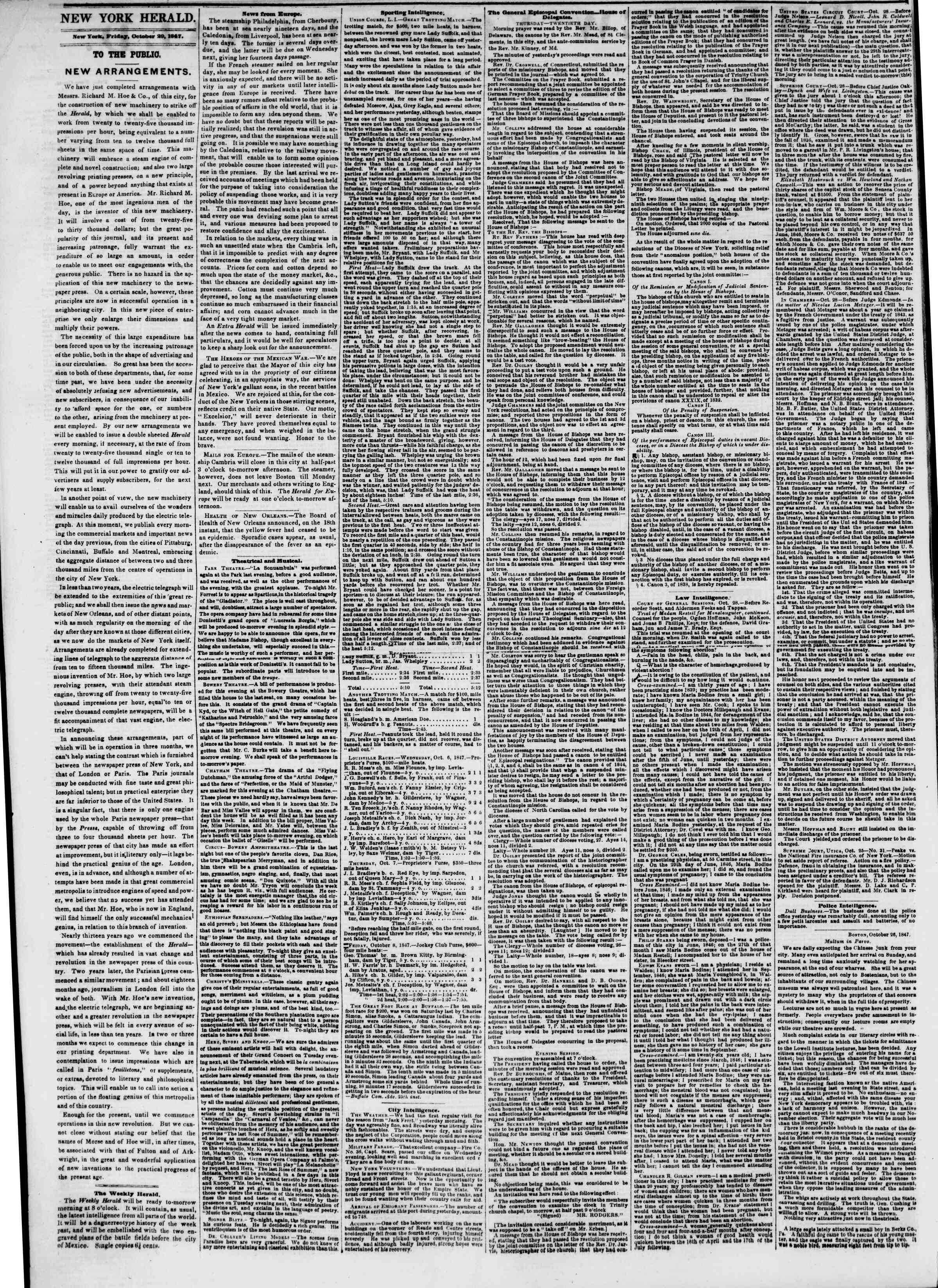 Newspaper of The New York Herald dated October 29, 1847 Page 2