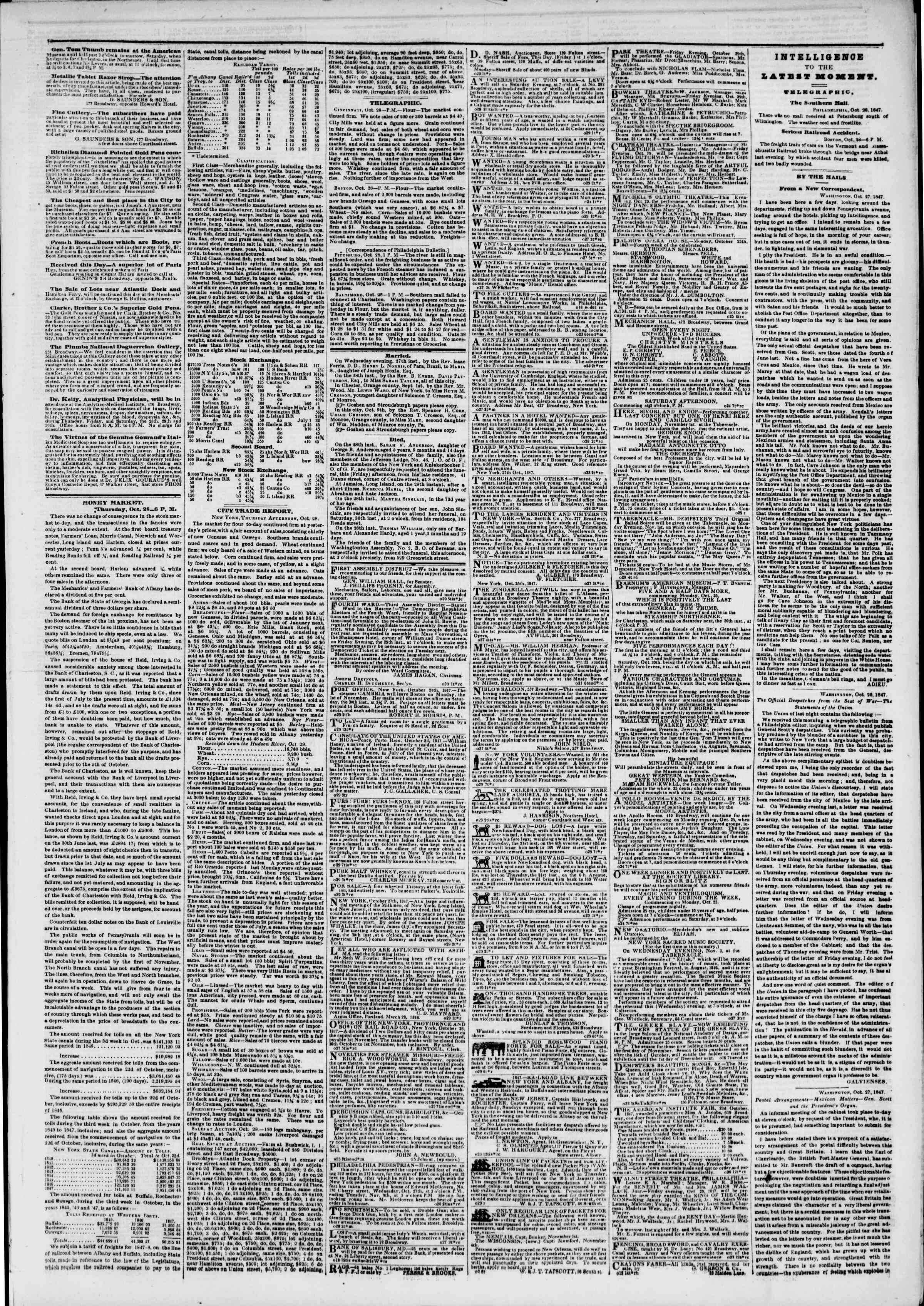 Newspaper of The New York Herald dated October 29, 1847 Page 3