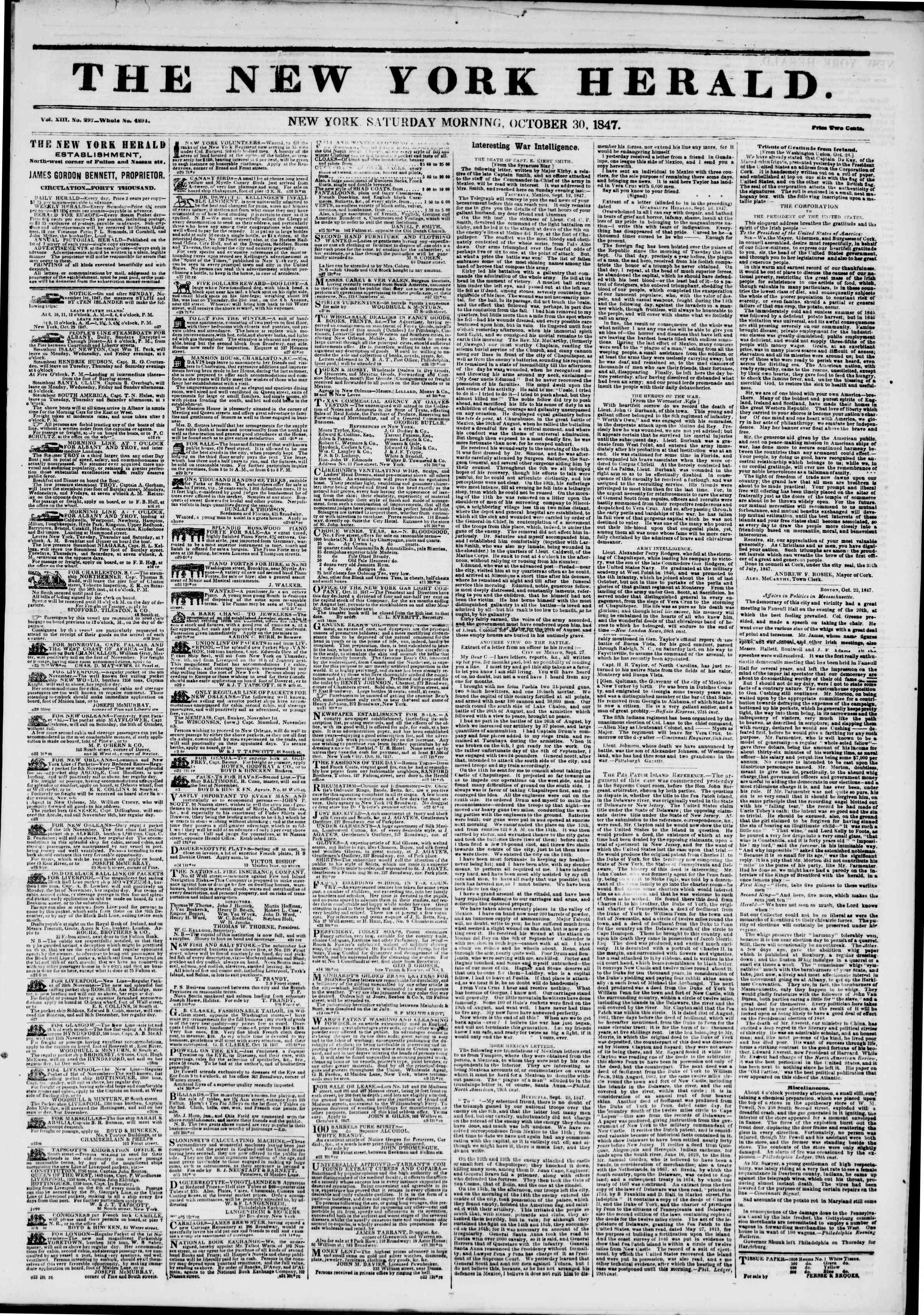 Newspaper of The New York Herald dated 30 Ekim 1847 Page 1