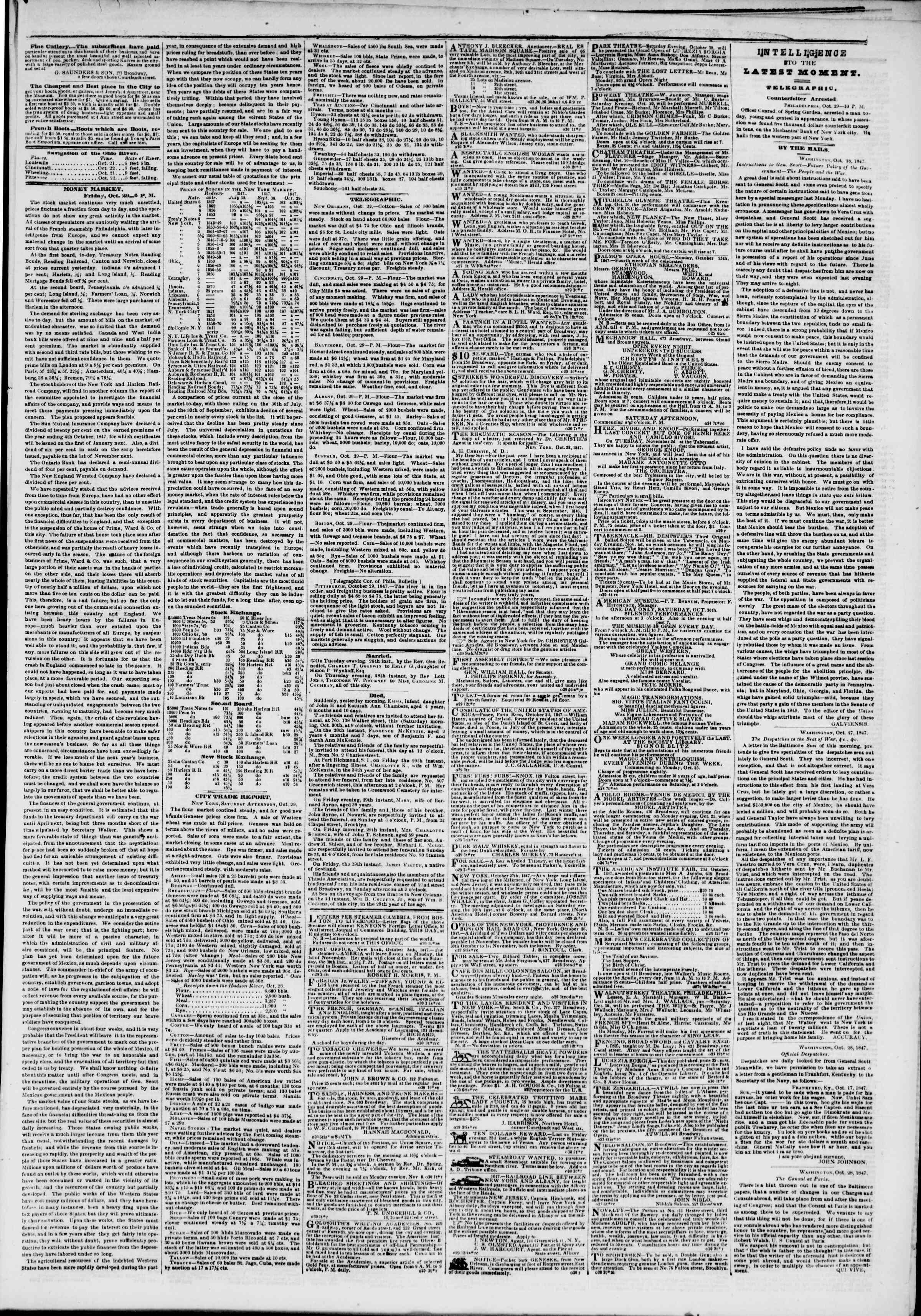 Newspaper of The New York Herald dated October 30, 1847 Page 3