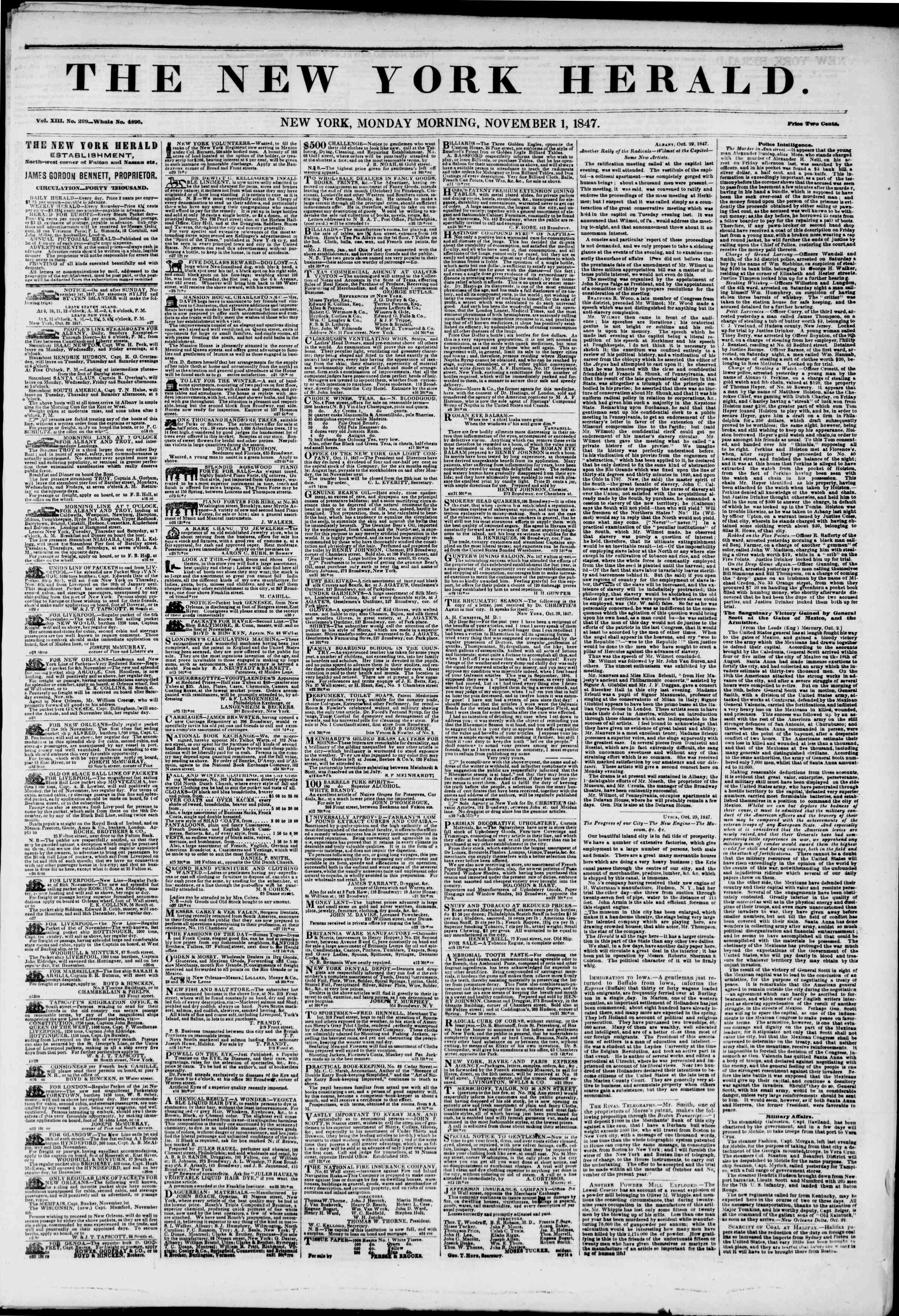 Newspaper of The New York Herald dated November 1, 1847 Page 1
