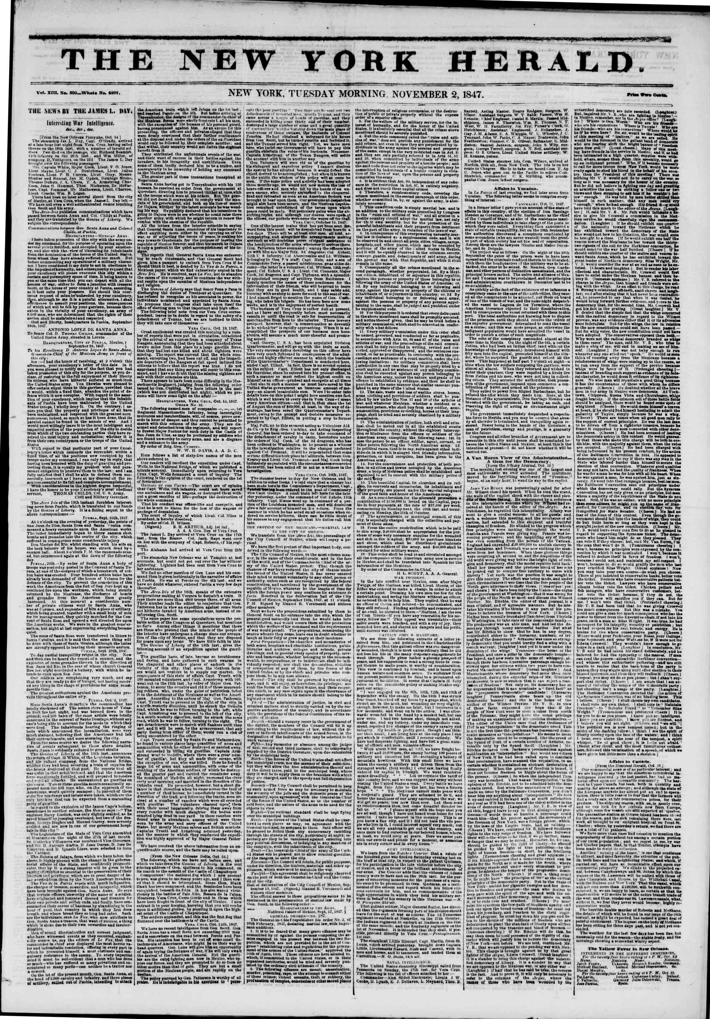 Newspaper of The New York Herald dated November 2, 1847 Page 1