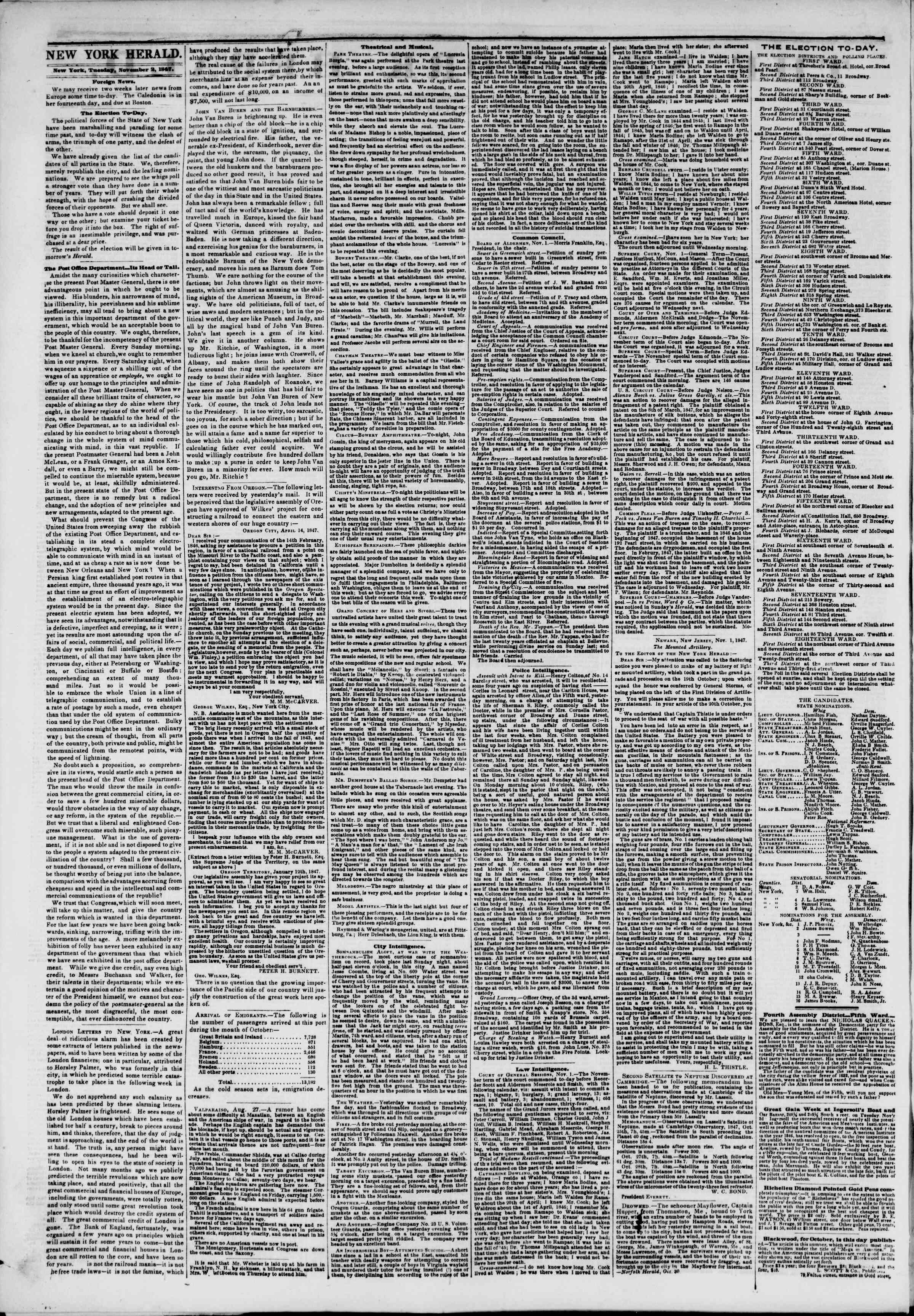 Newspaper of The New York Herald dated November 2, 1847 Page 2