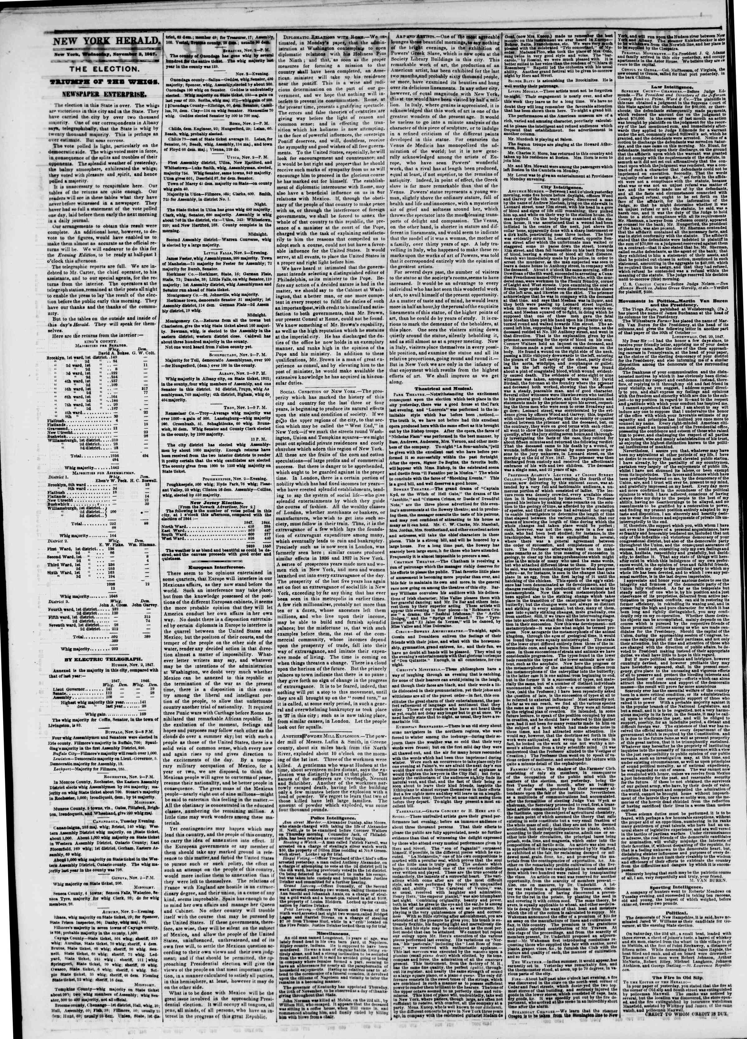Newspaper of The New York Herald dated November 3, 1847 Page 2