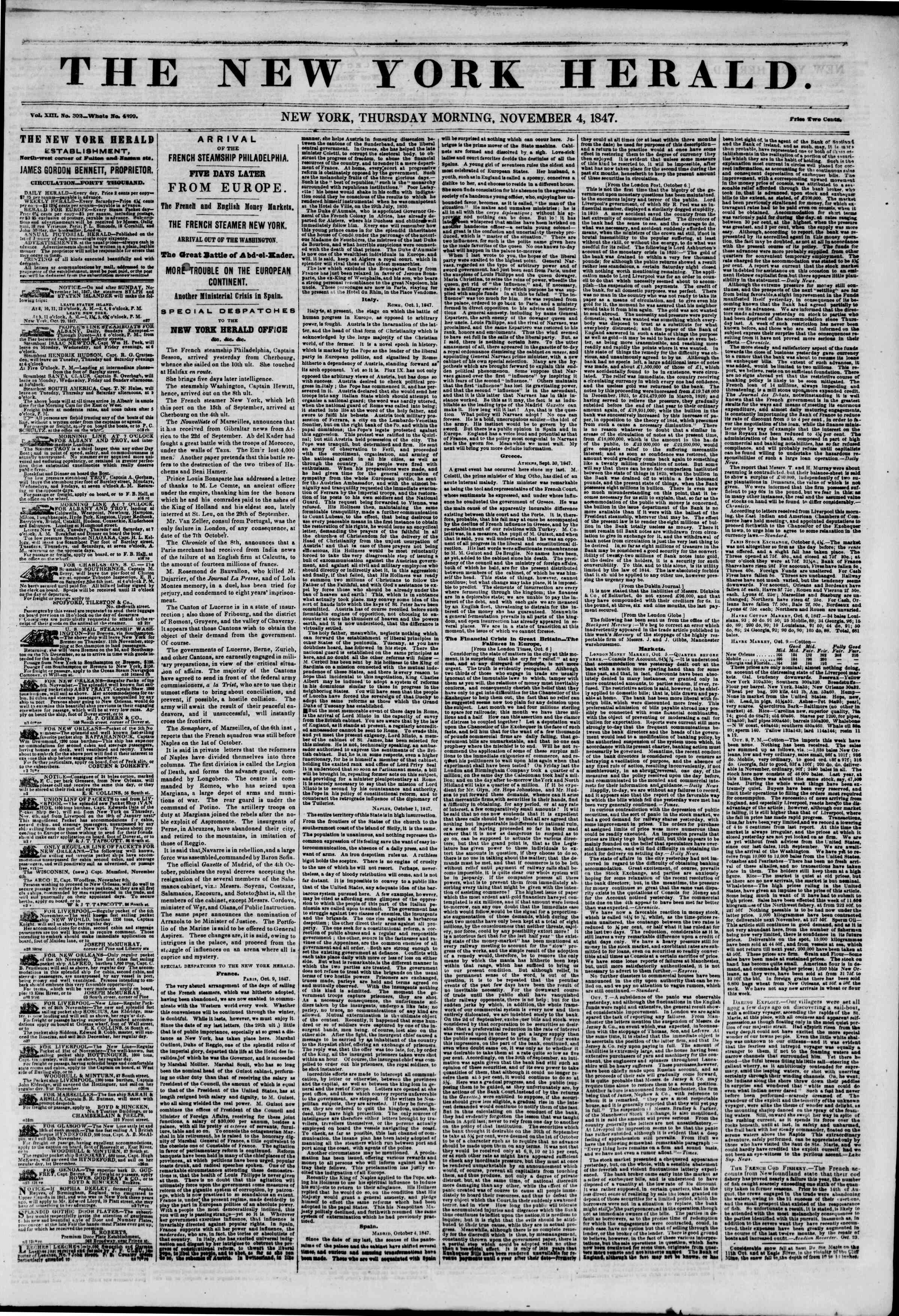 Newspaper of The New York Herald dated November 4, 1847 Page 1