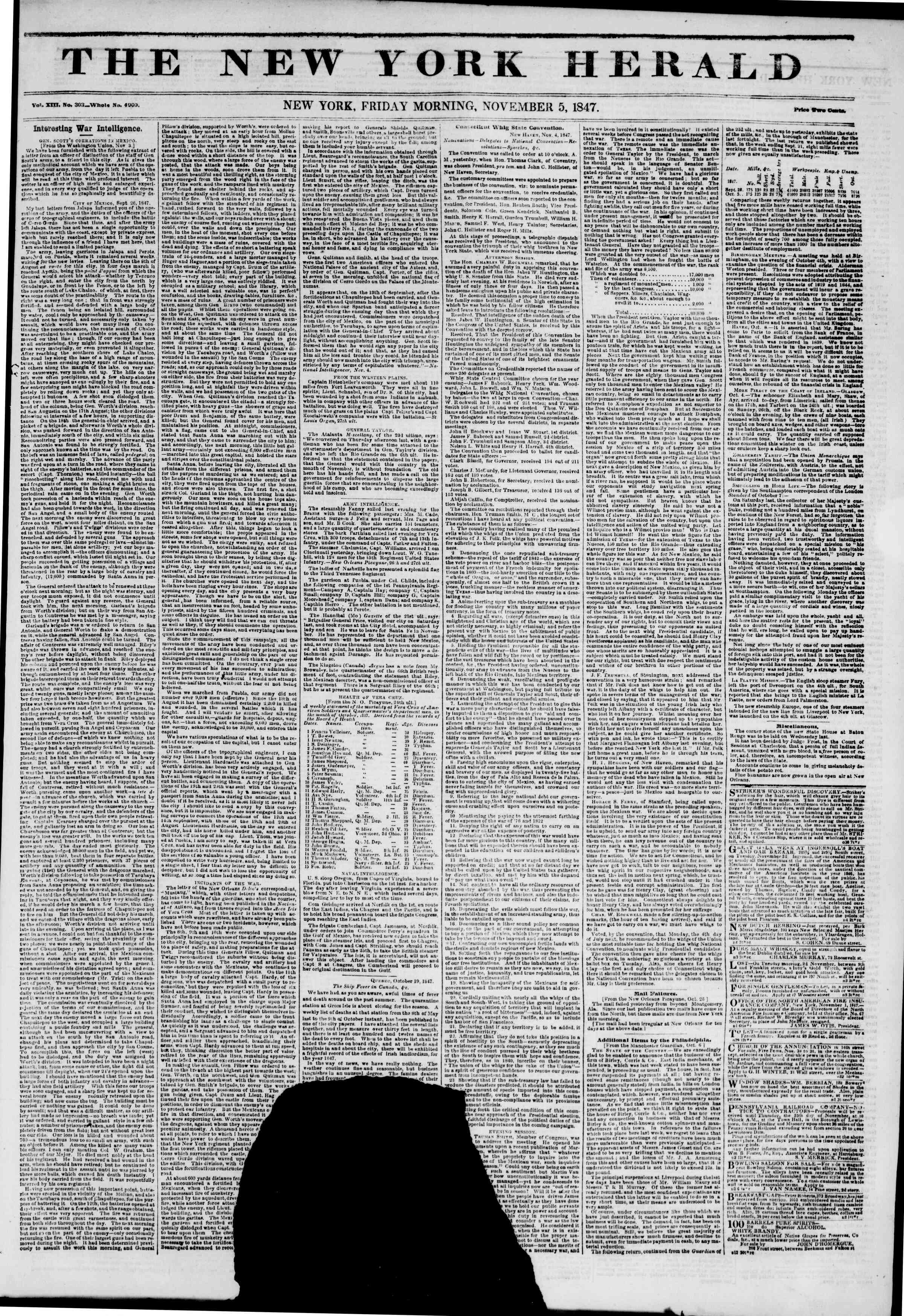 Newspaper of The New York Herald dated November 5, 1847 Page 1