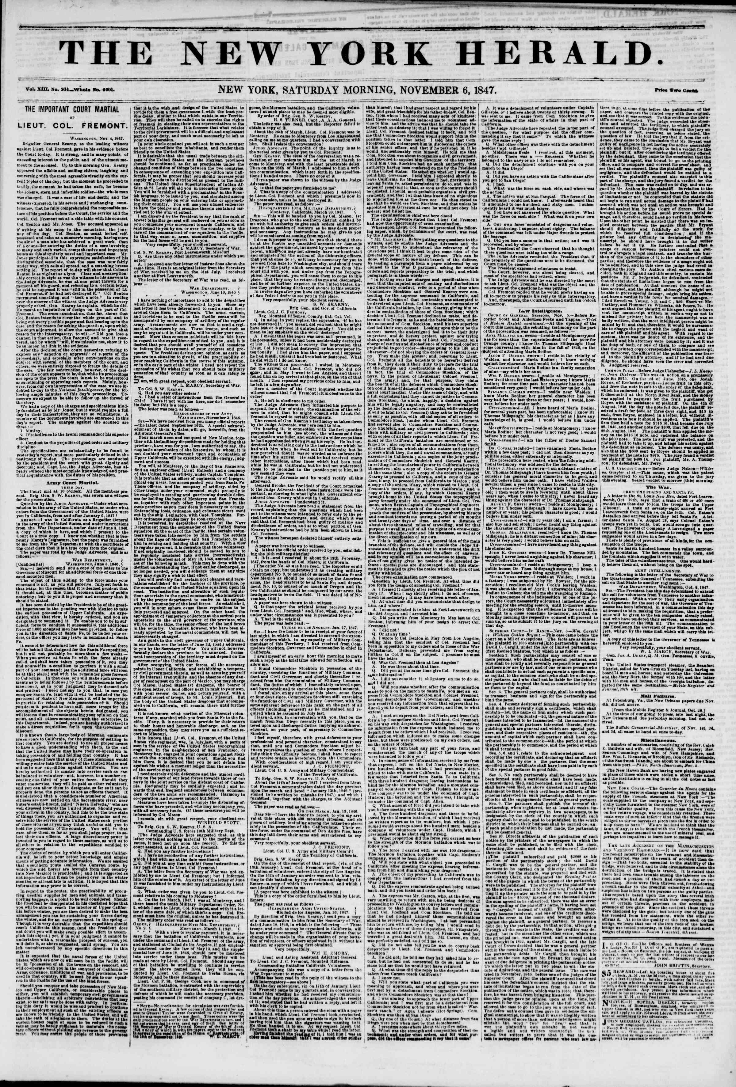 Newspaper of The New York Herald dated November 6, 1847 Page 1