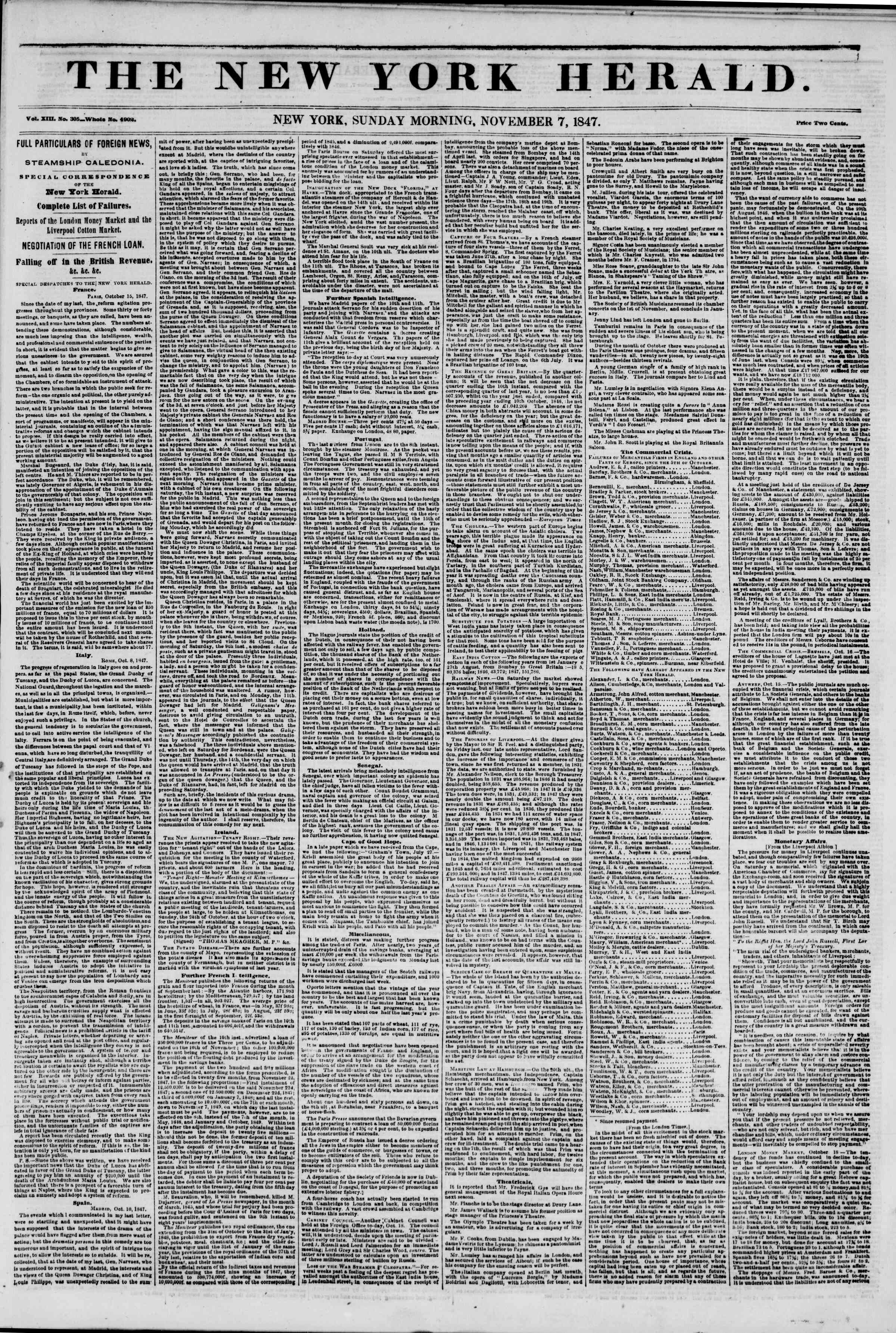 Newspaper of The New York Herald dated November 7, 1847 Page 1