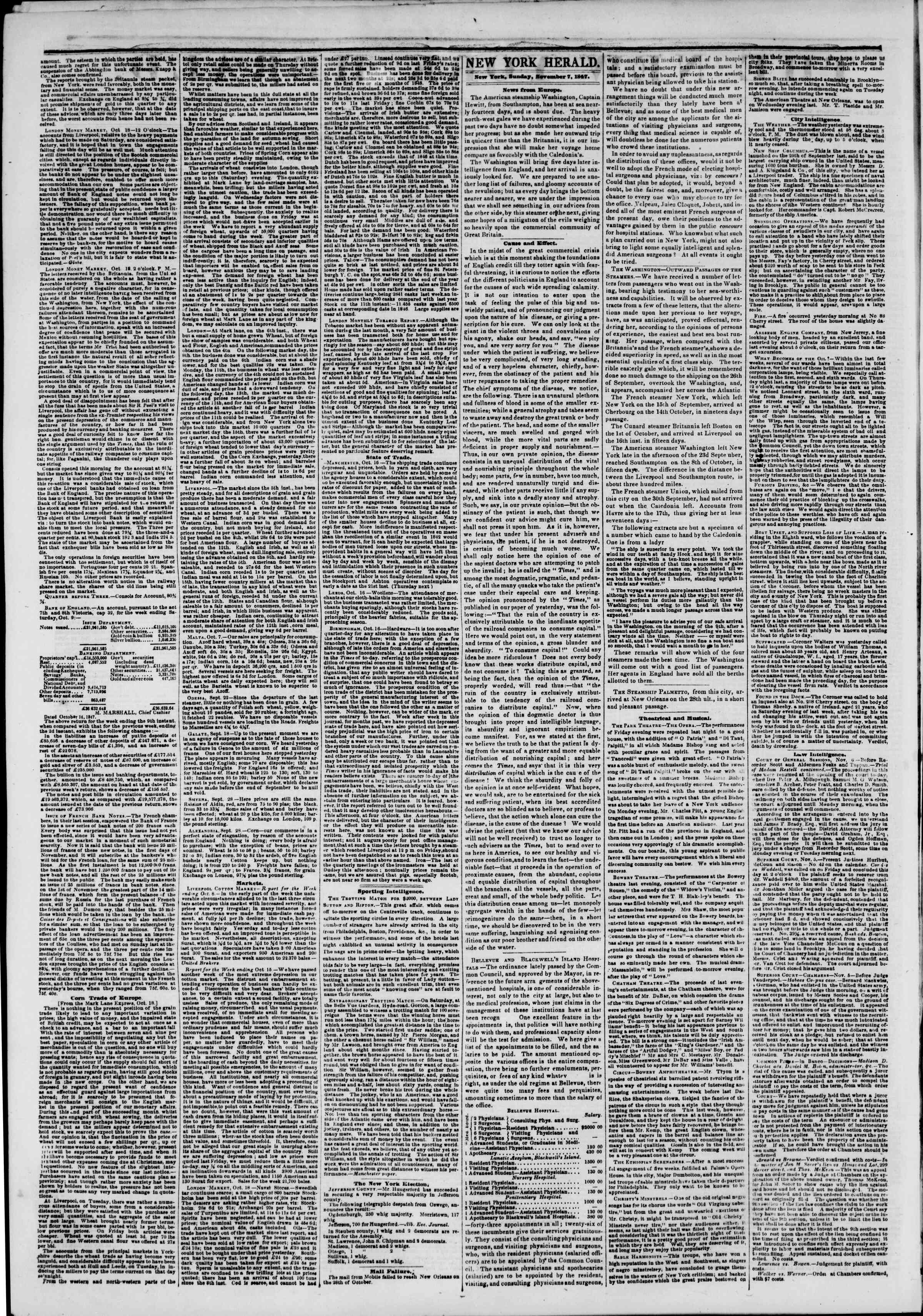 Newspaper of The New York Herald dated November 7, 1847 Page 2