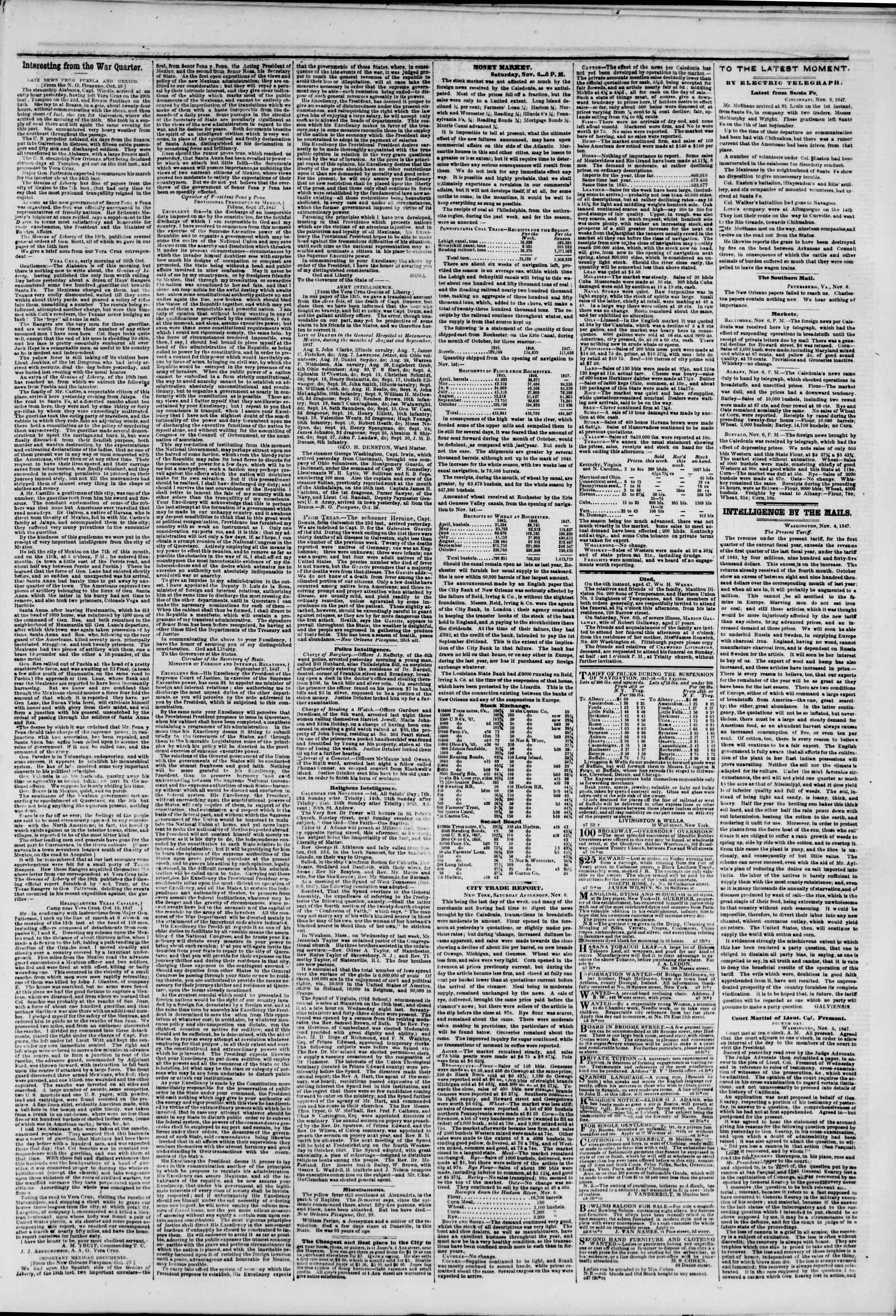 Newspaper of The New York Herald dated November 7, 1847 Page 3