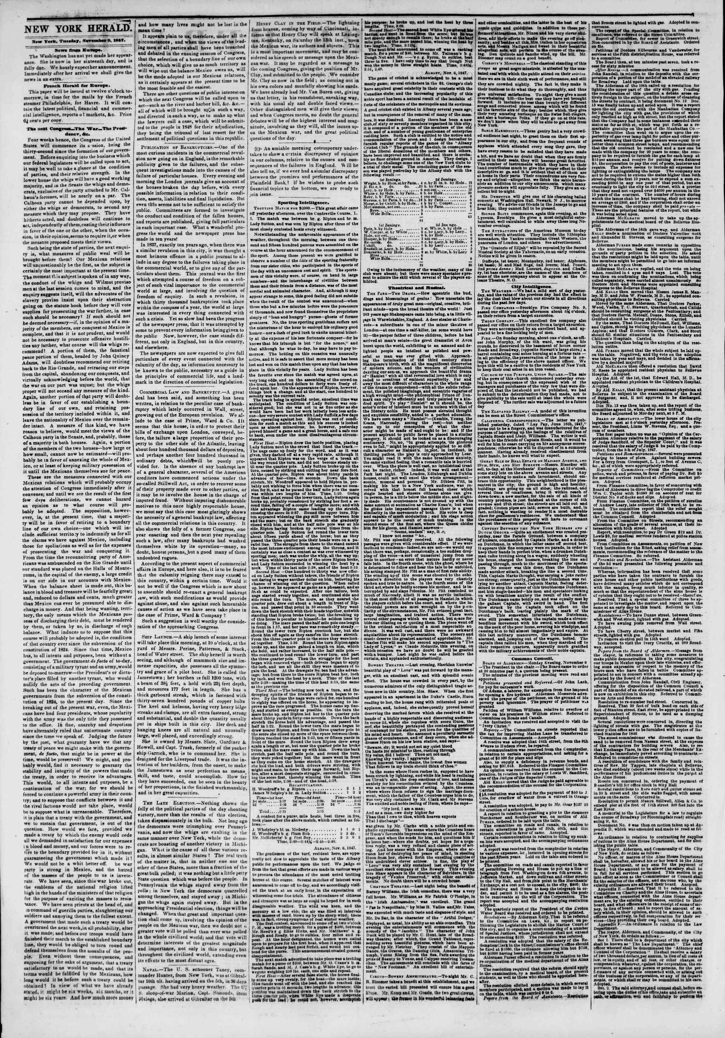 Newspaper of The New York Herald dated November 9, 1847 Page 2