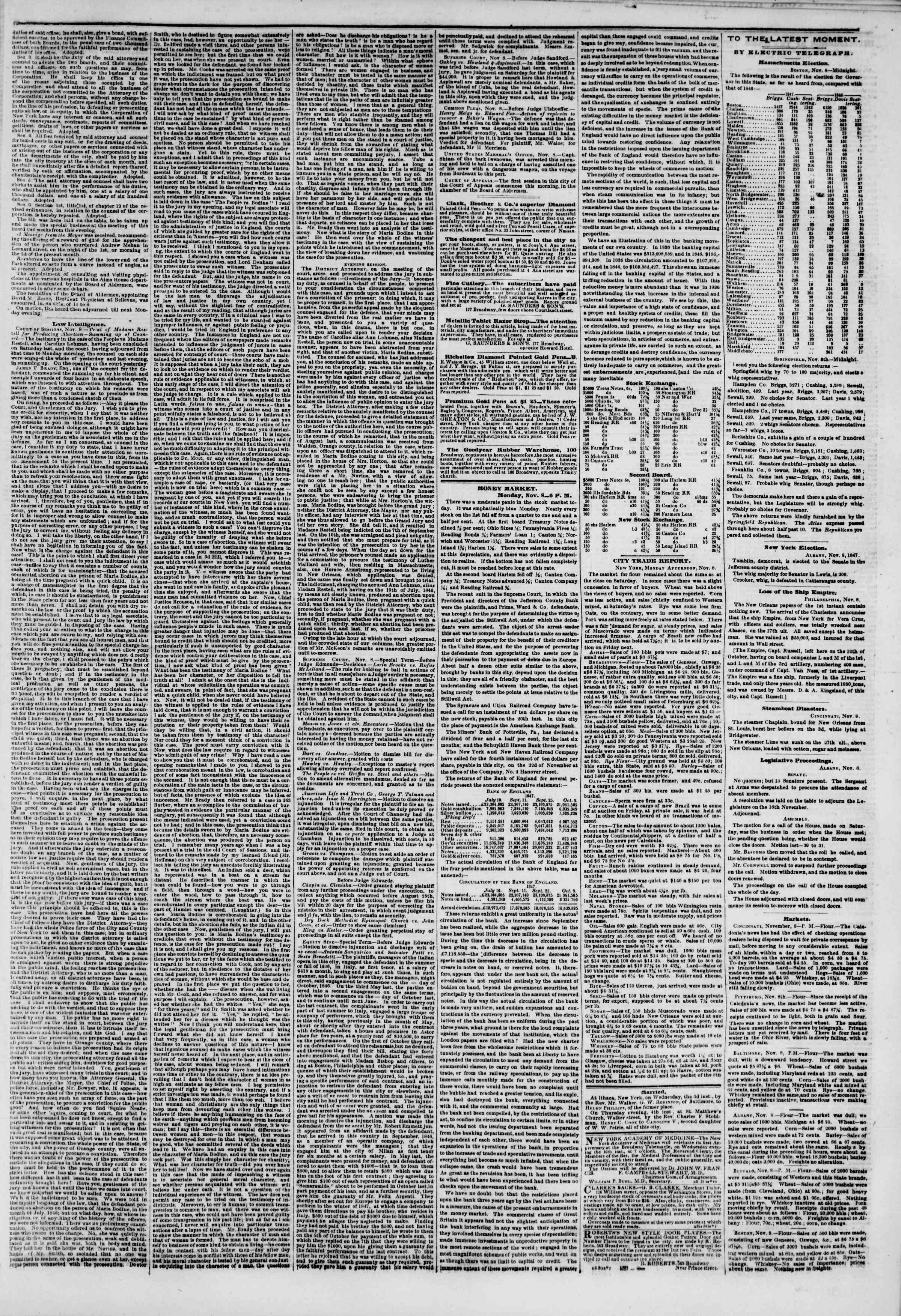 Newspaper of The New York Herald dated November 9, 1847 Page 3