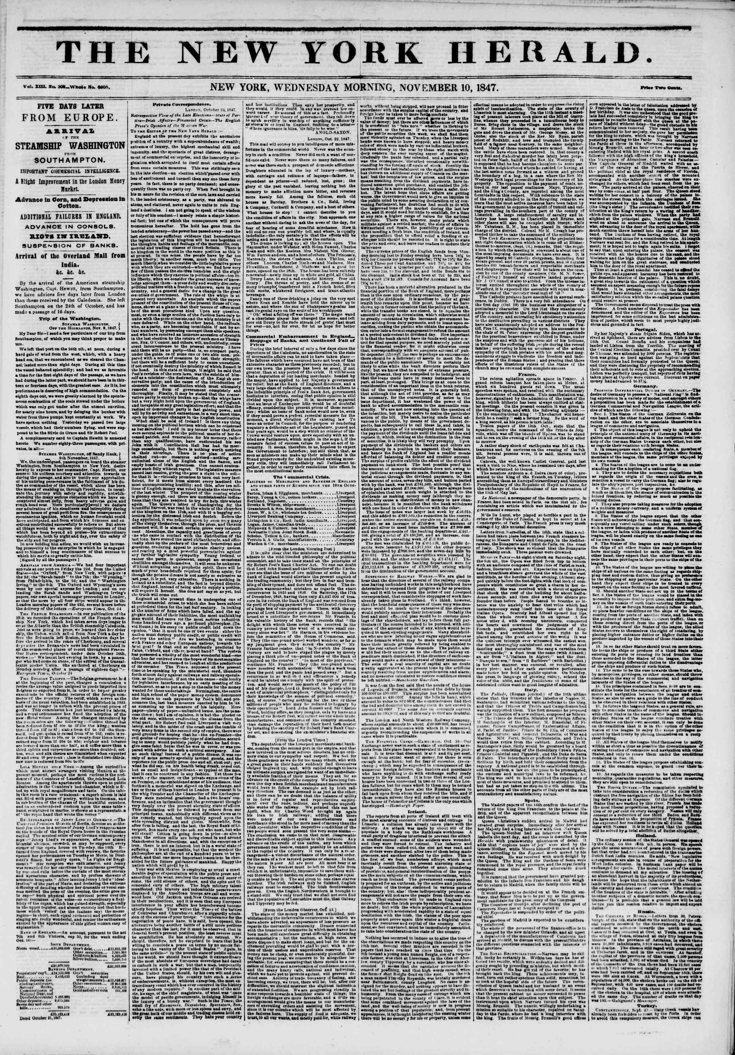 Newspaper of The New York Herald dated November 10, 1847 Page 1