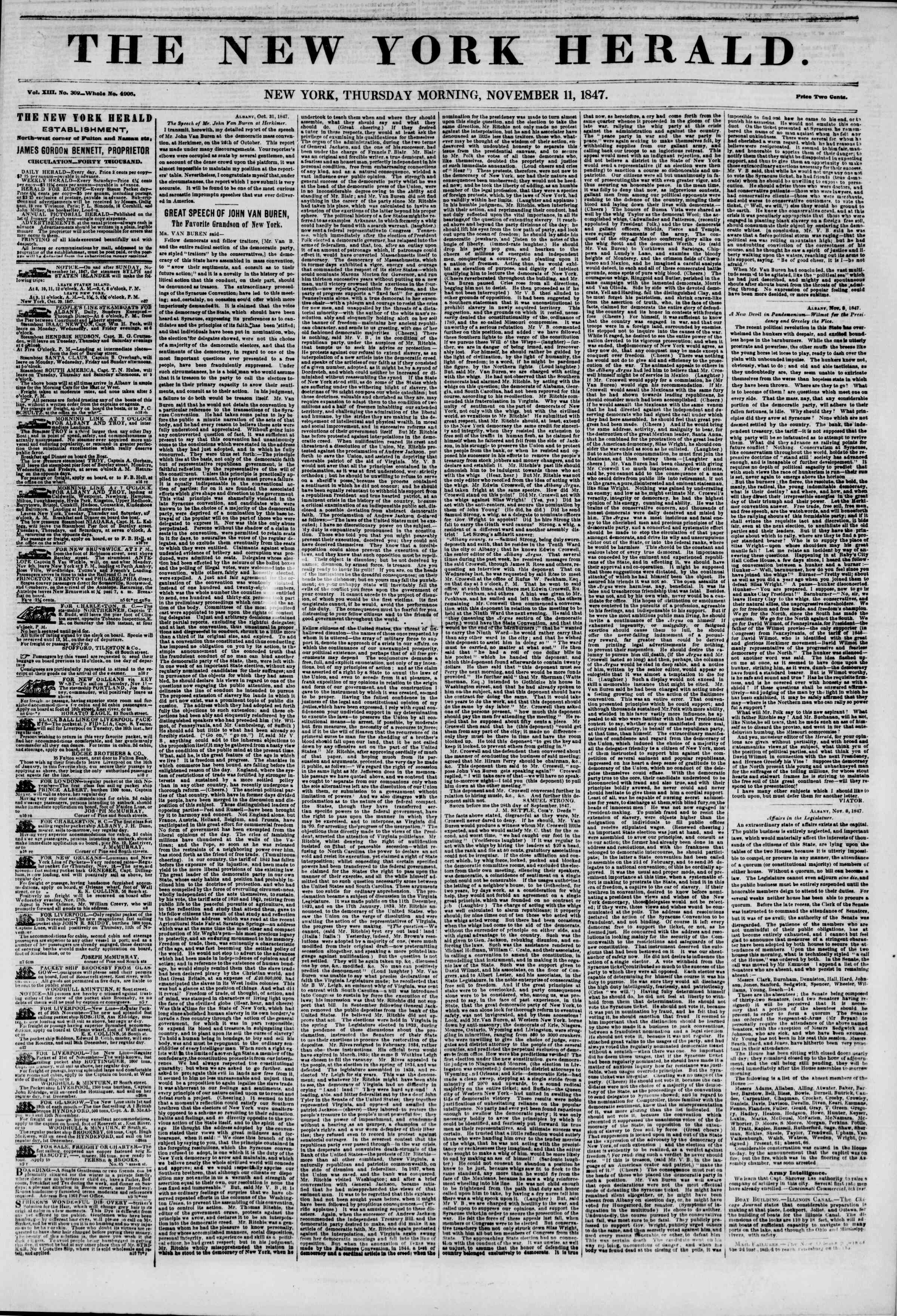 Newspaper of The New York Herald dated November 11, 1847 Page 1