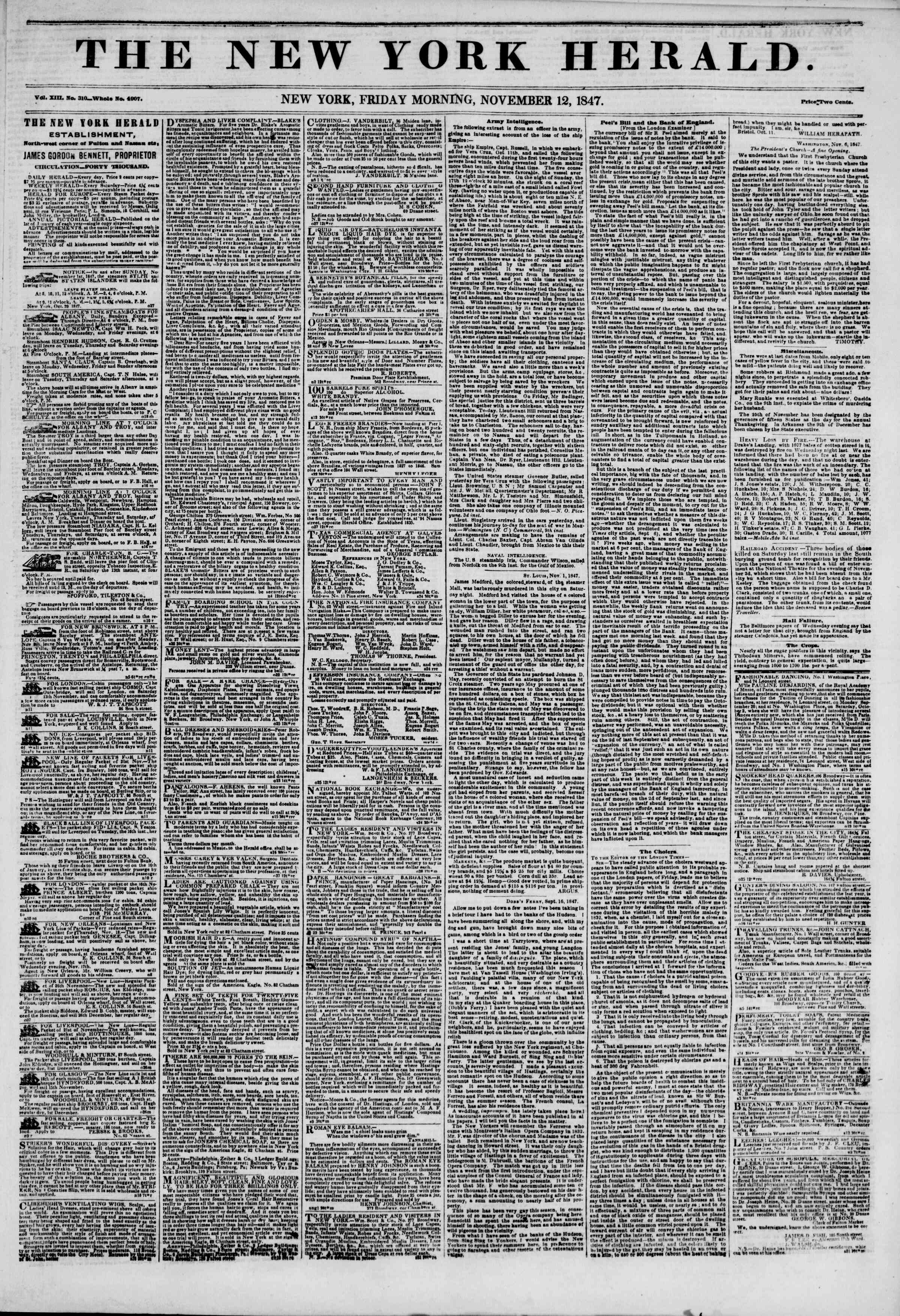Newspaper of The New York Herald dated November 12, 1847 Page 1