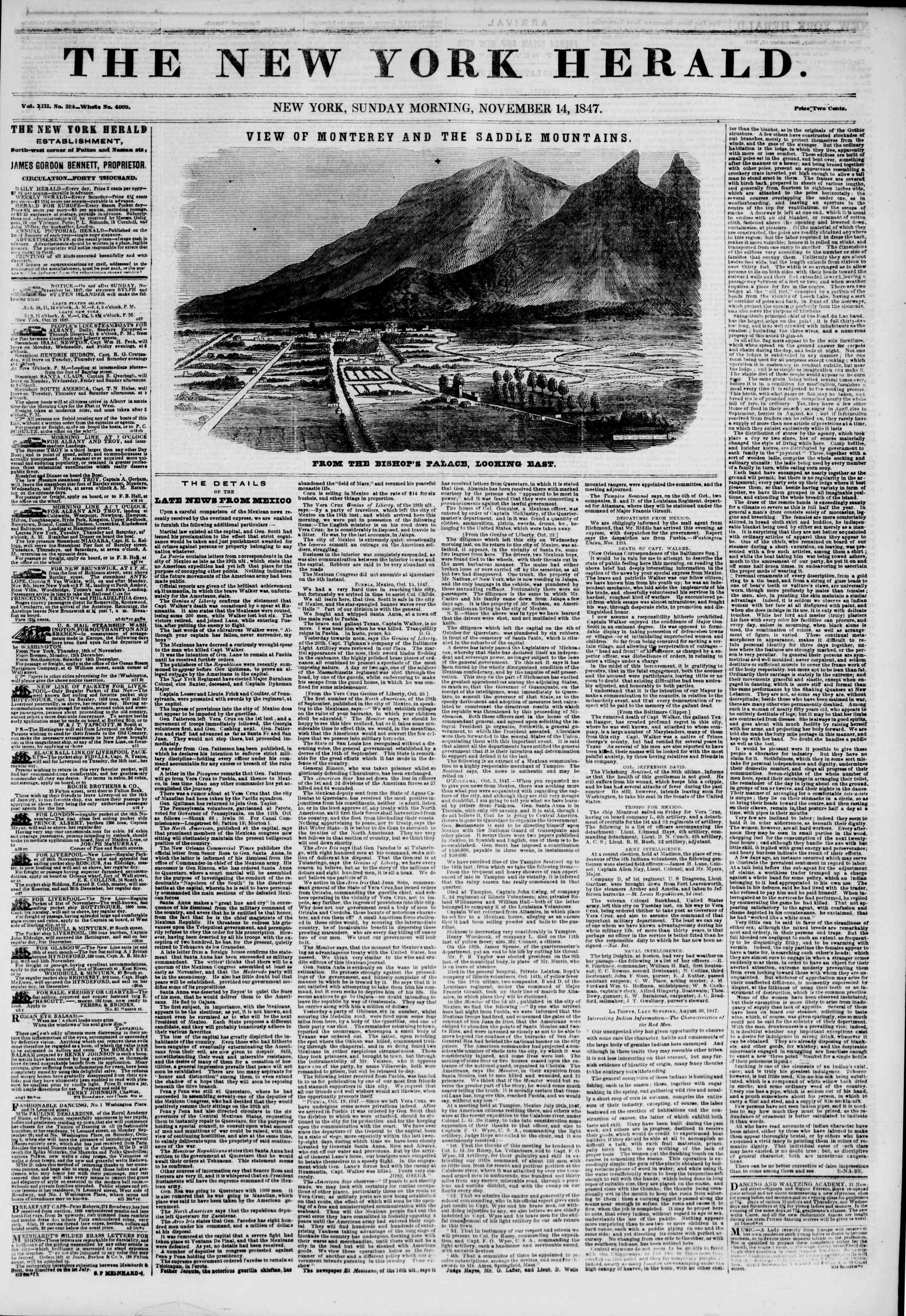 Newspaper of The New York Herald dated November 14, 1847 Page 1