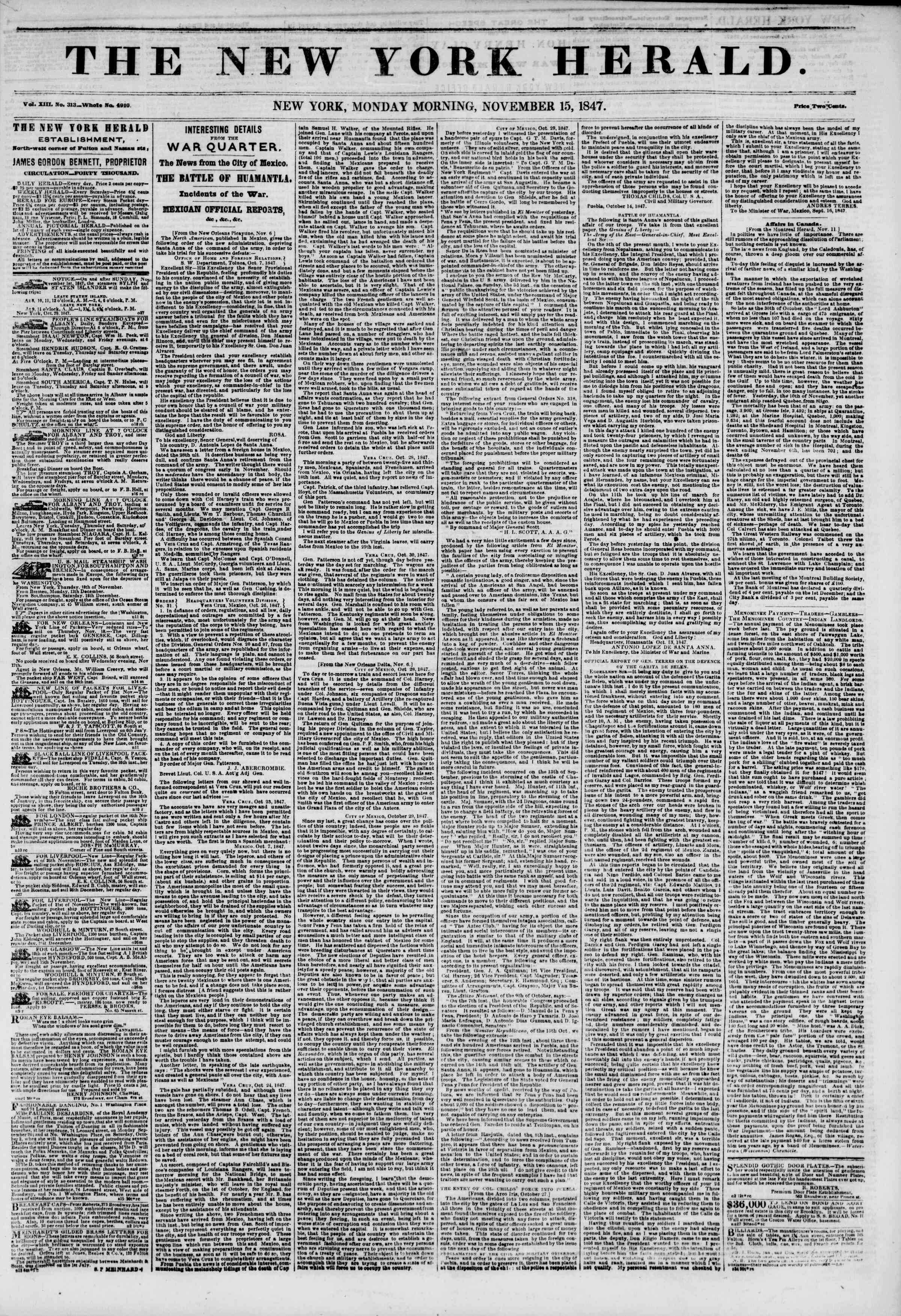 Newspaper of The New York Herald dated November 15, 1847 Page 1