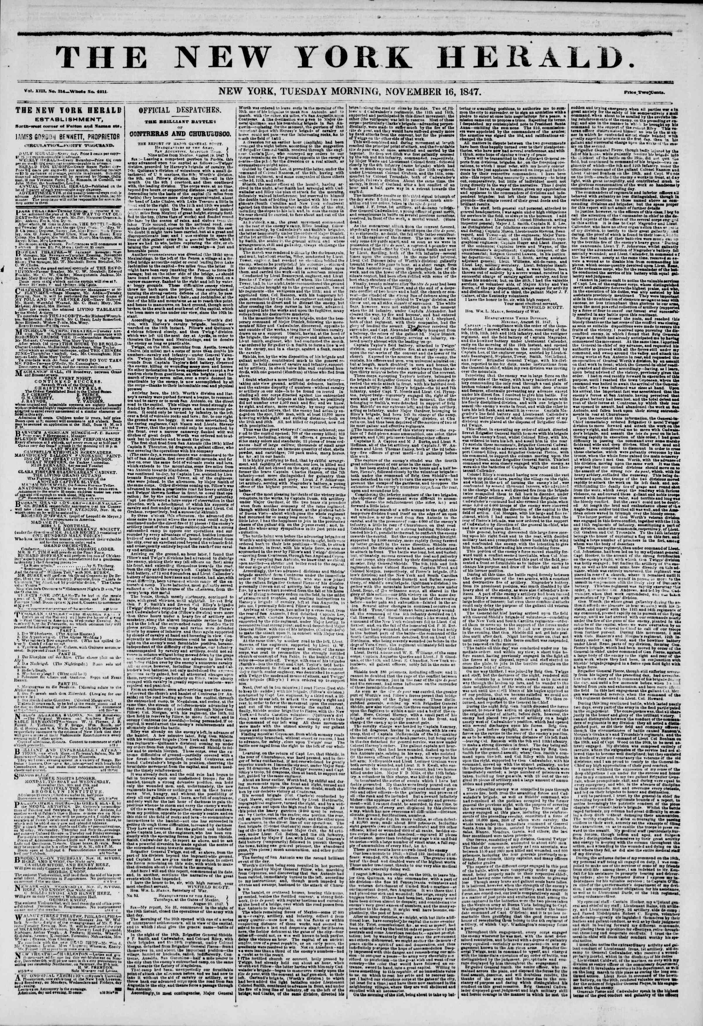 Newspaper of The New York Herald dated November 16, 1847 Page 1