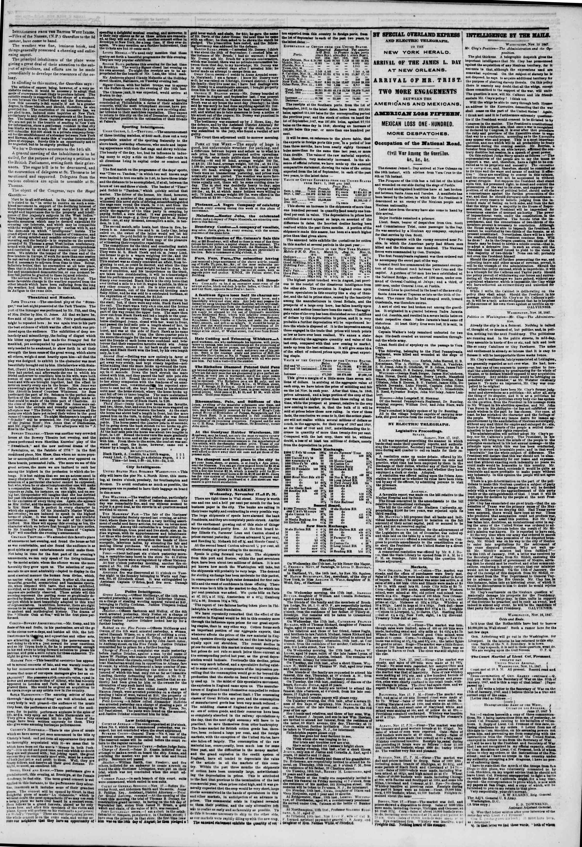 Newspaper of The New York Herald dated November 18, 1847 Page 3