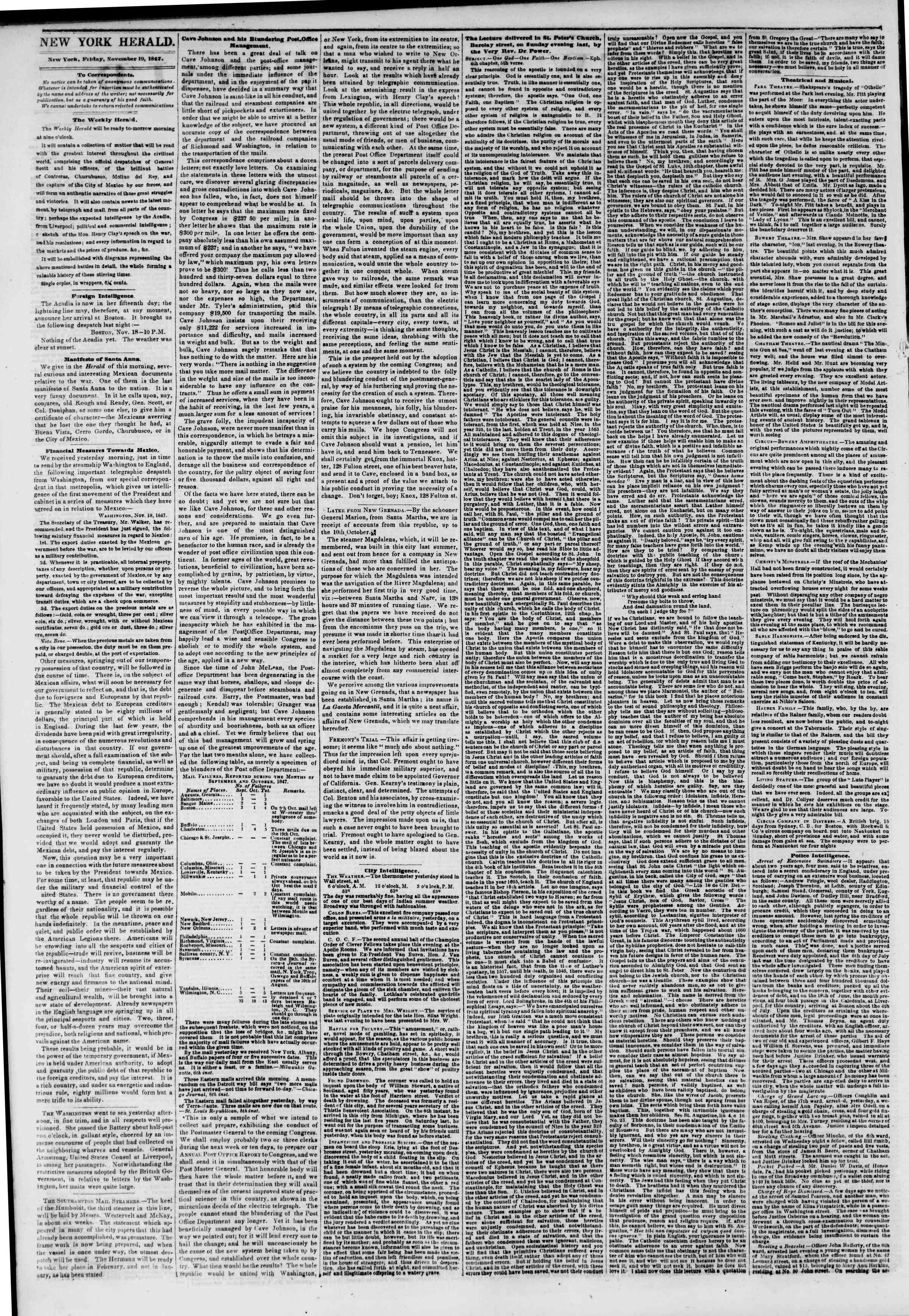 Newspaper of The New York Herald dated November 19, 1847 Page 2