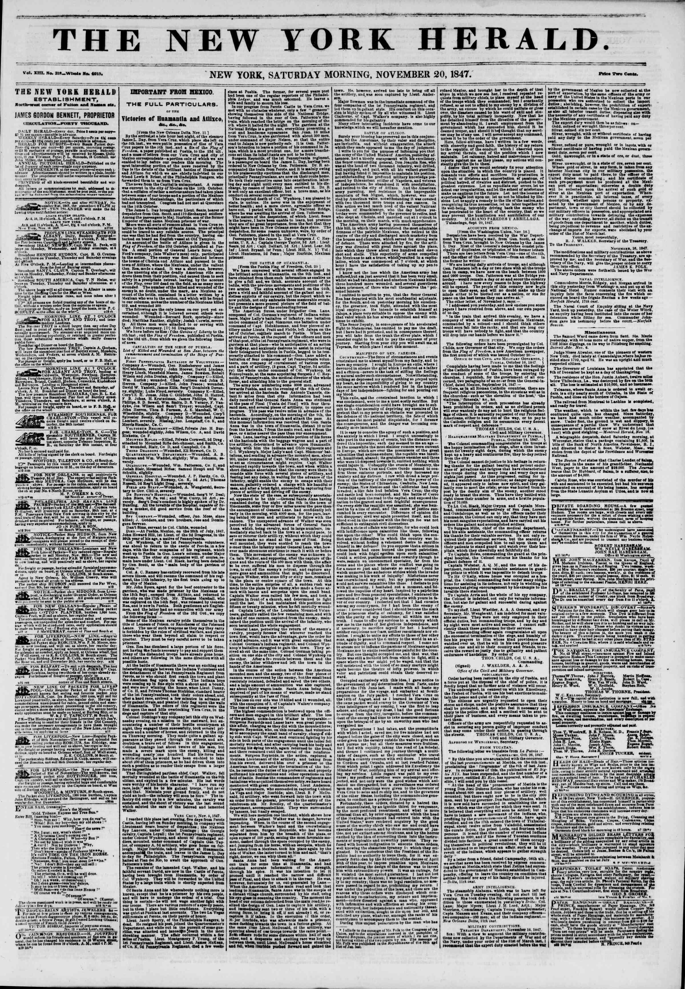 Newspaper of The New York Herald dated November 20, 1847 Page 1