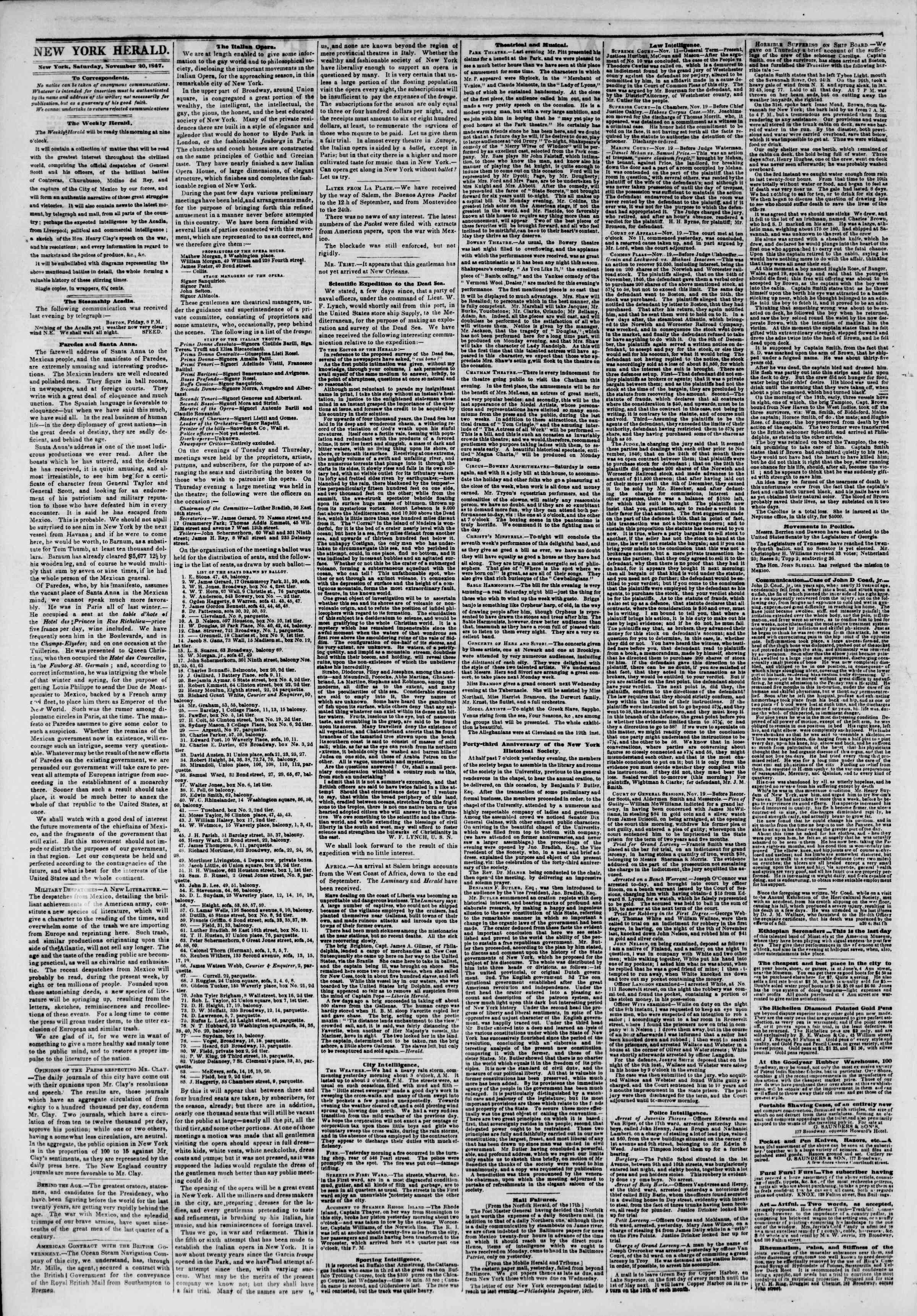 Newspaper of The New York Herald dated November 20, 1847 Page 2