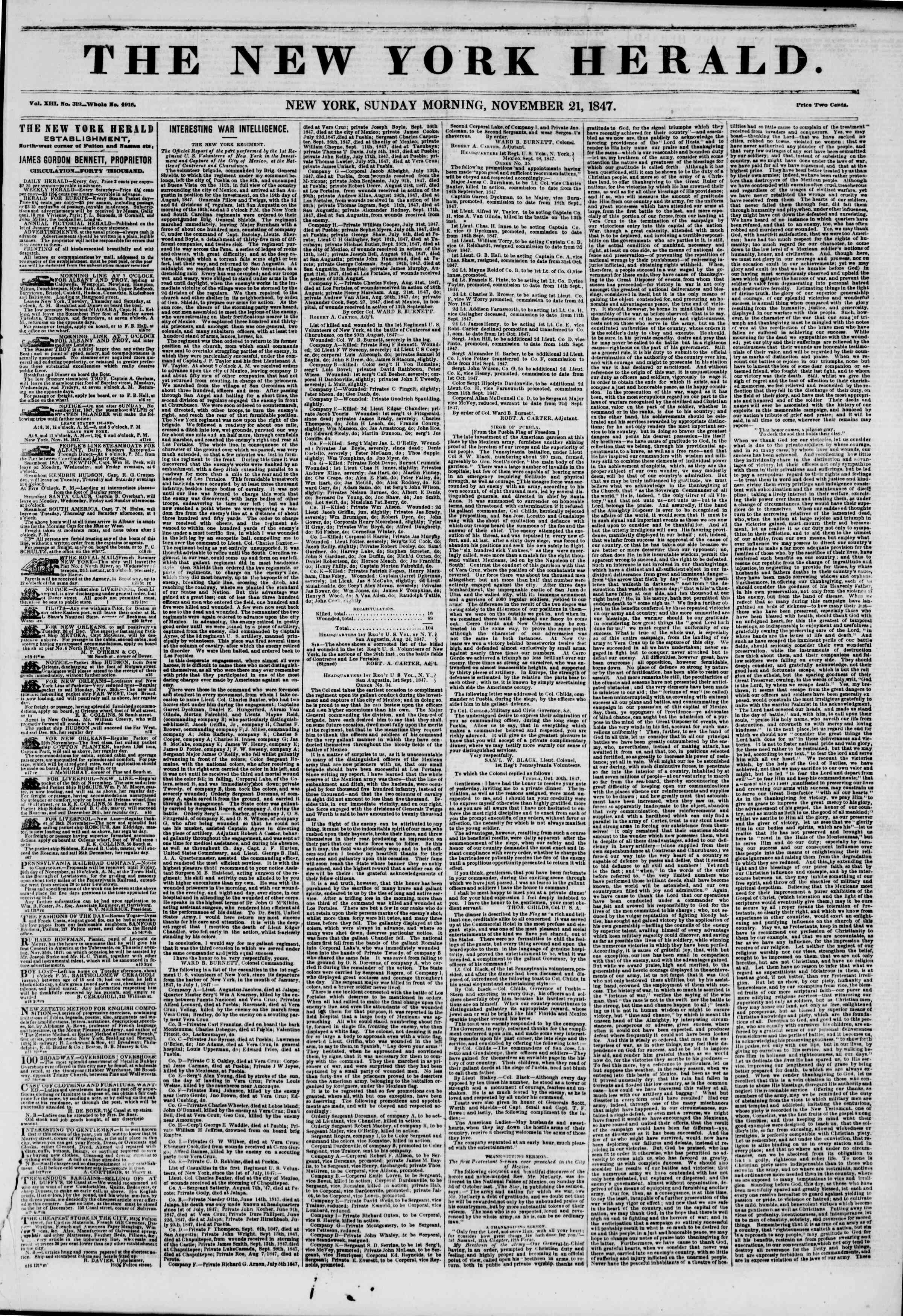 Newspaper of The New York Herald dated November 21, 1847 Page 1