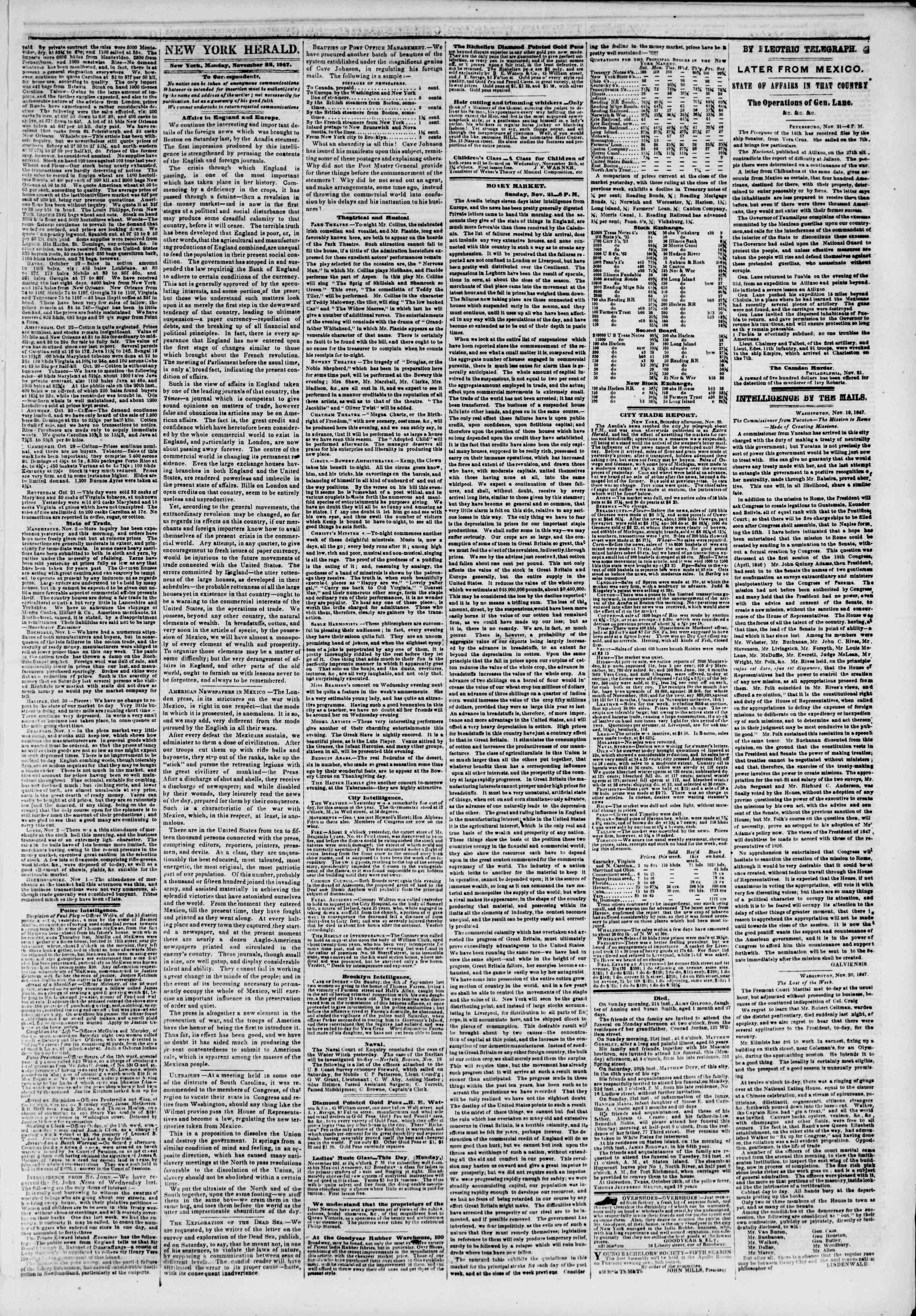 22 Kasım 1847 tarihli The New York Herald Gazetesi Sayfa 3